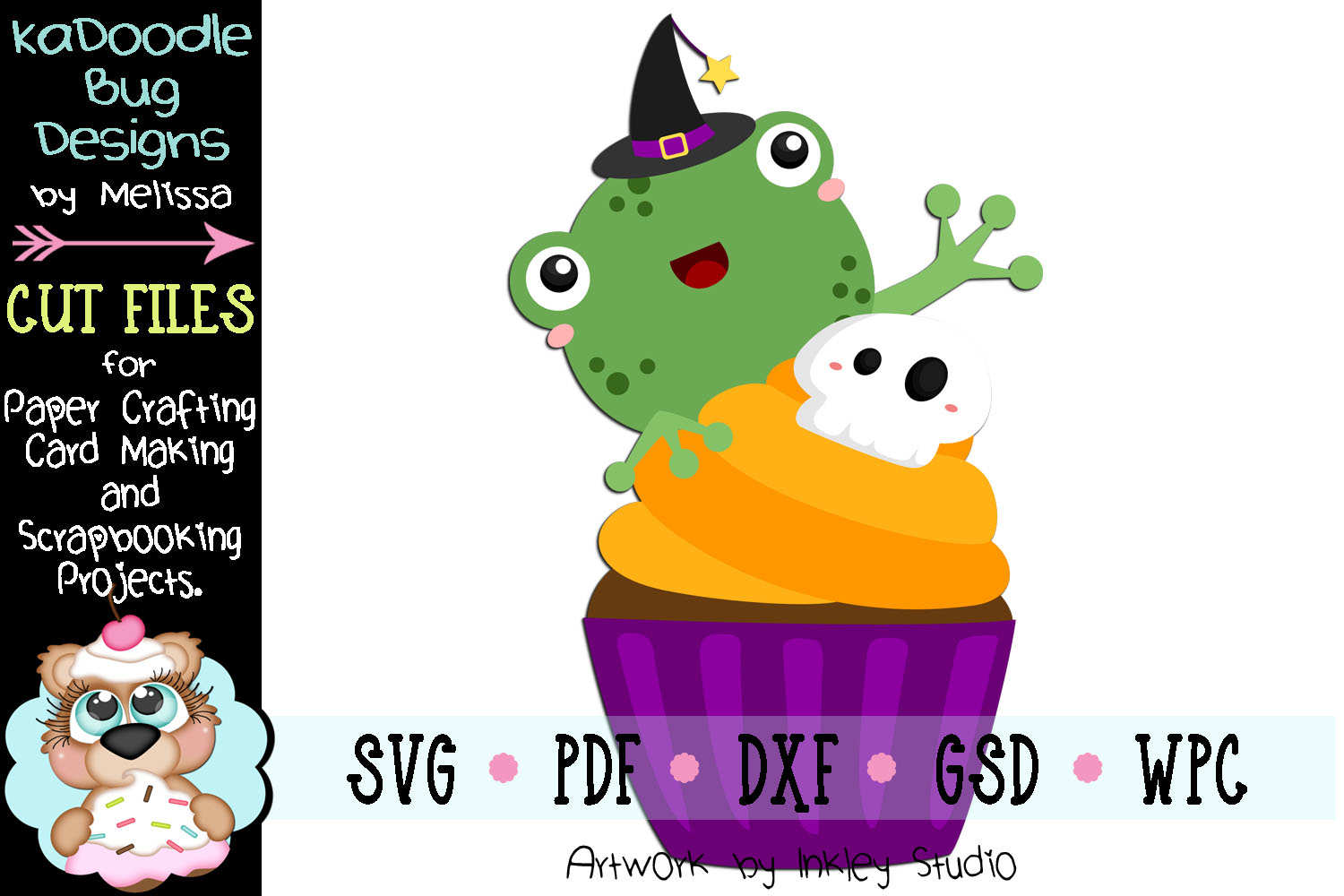 Halloween Cupcake Frog Cut File - SVG PDF DXF GSD WPC example image 1