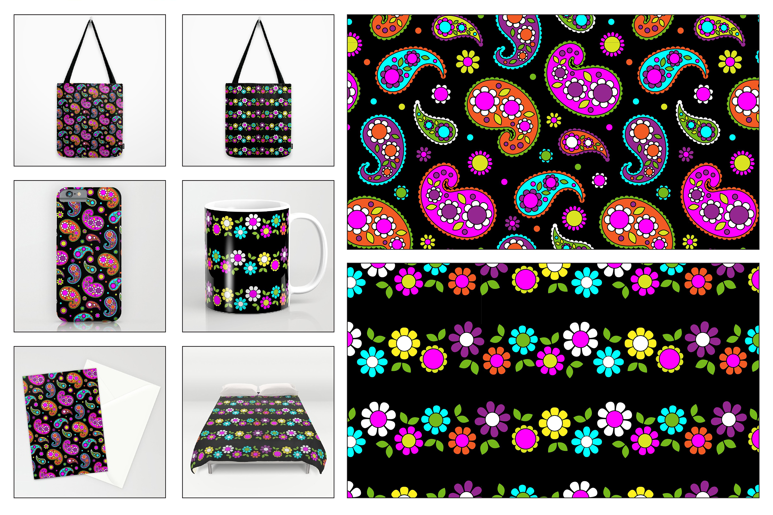 Seamless Paisleys & Flowers example image 3