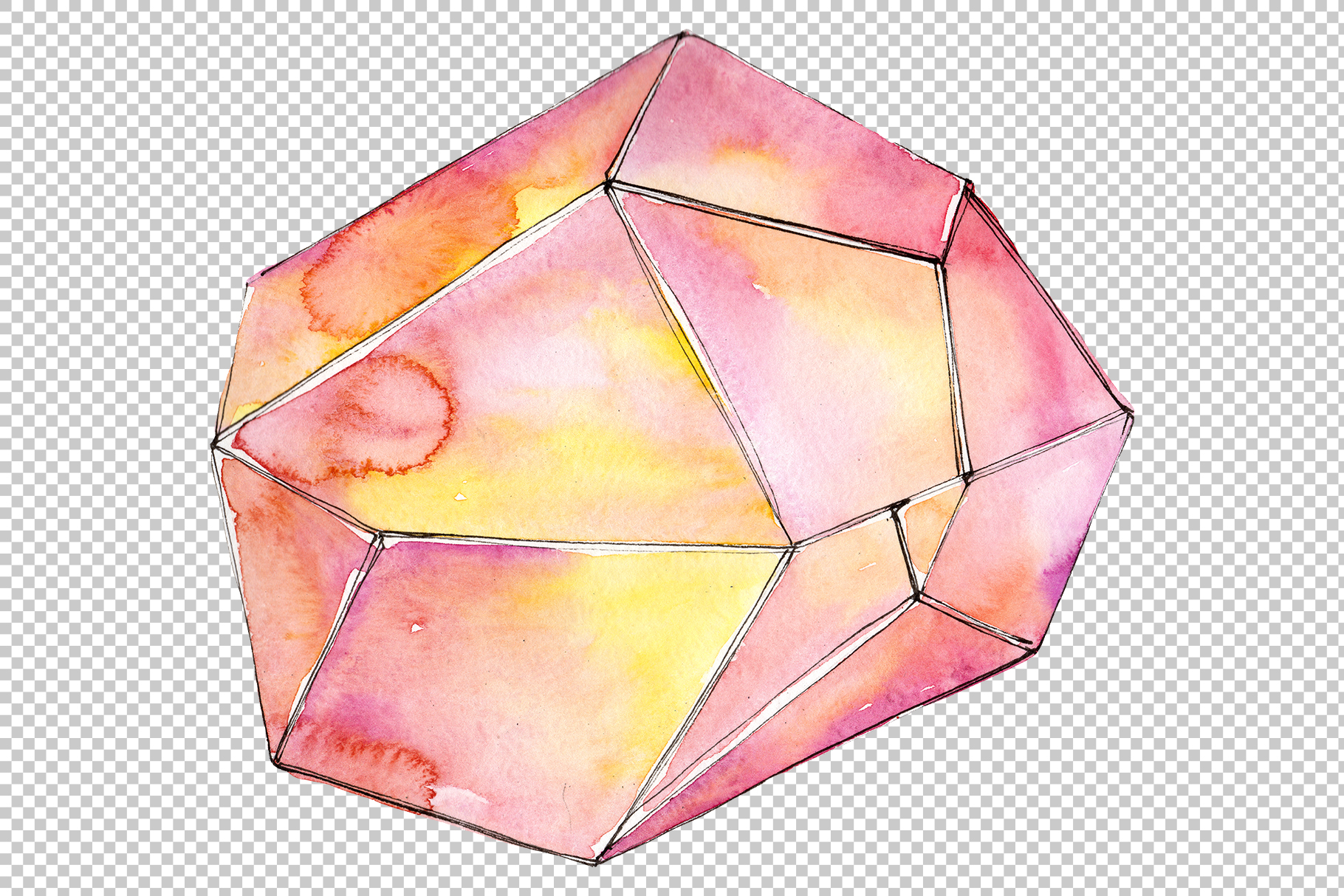 Crystals orange and green Watercolor png example image 3