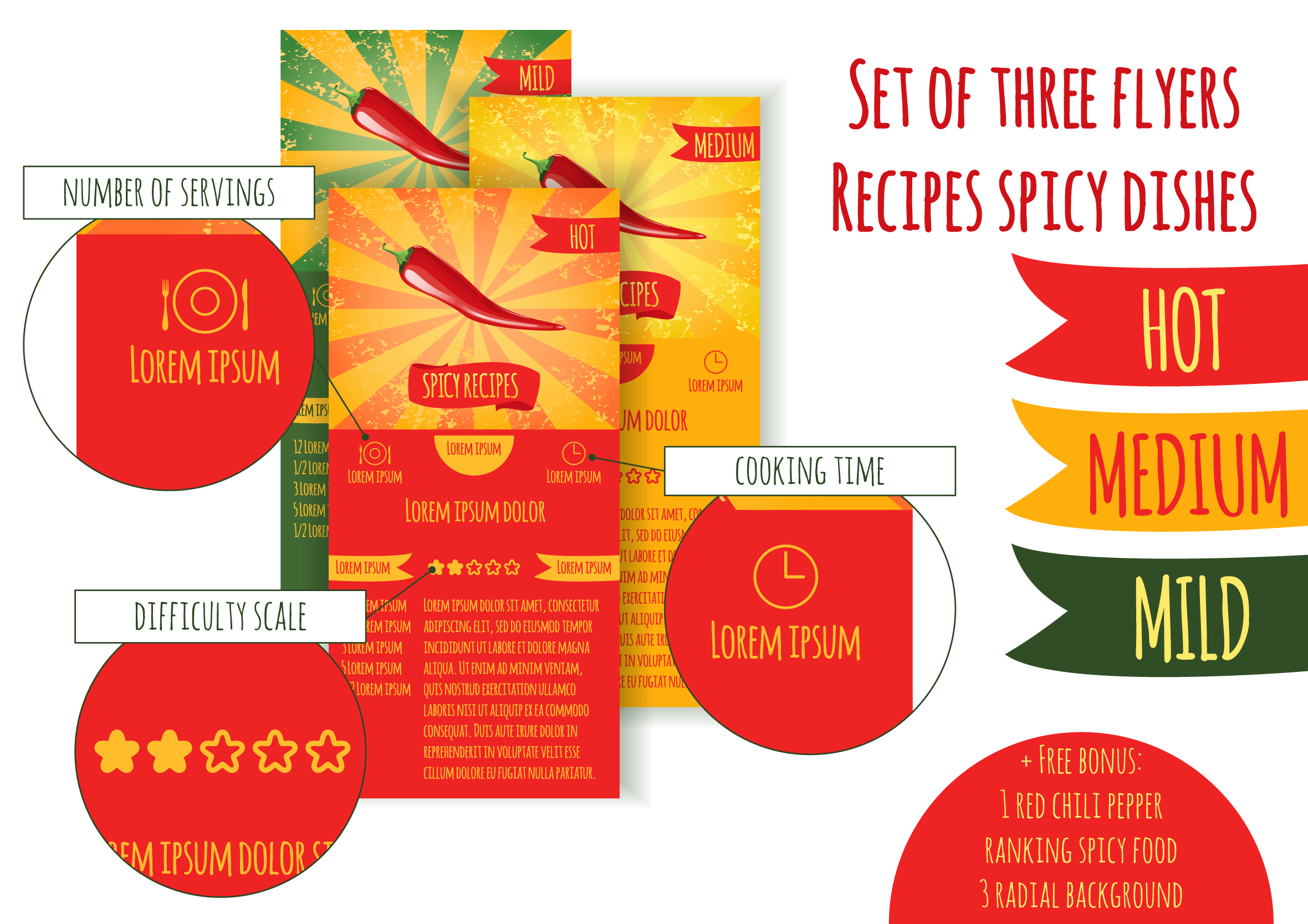 Set flyers. Recipes spicy dishes example image 1