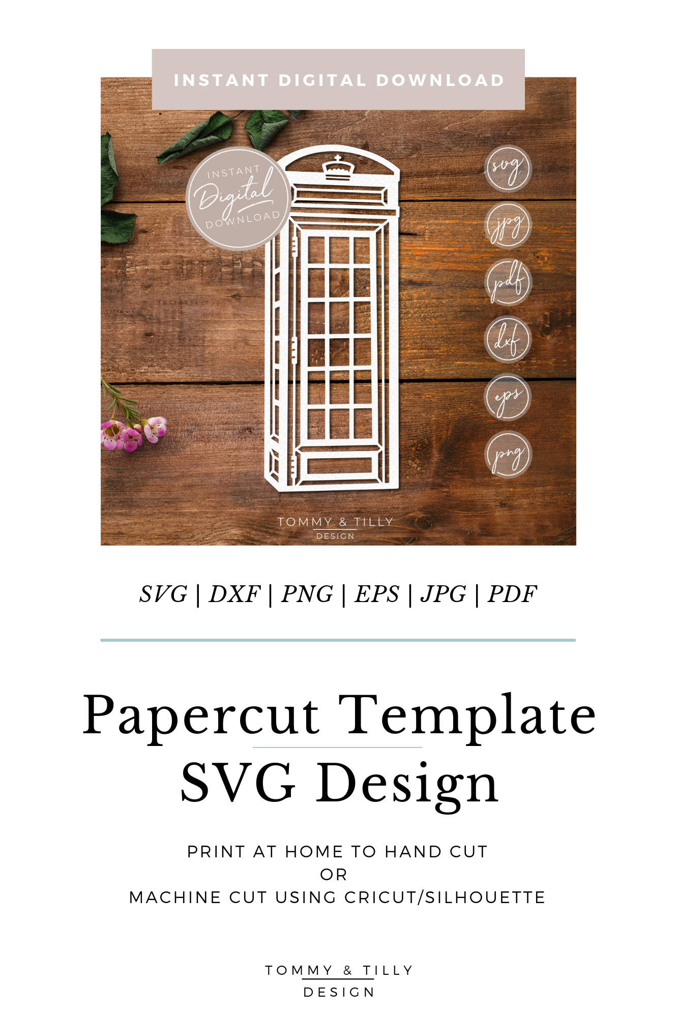 Telephone Box - SVG EPS DXF PNG PDF JPG Cut File example image 10