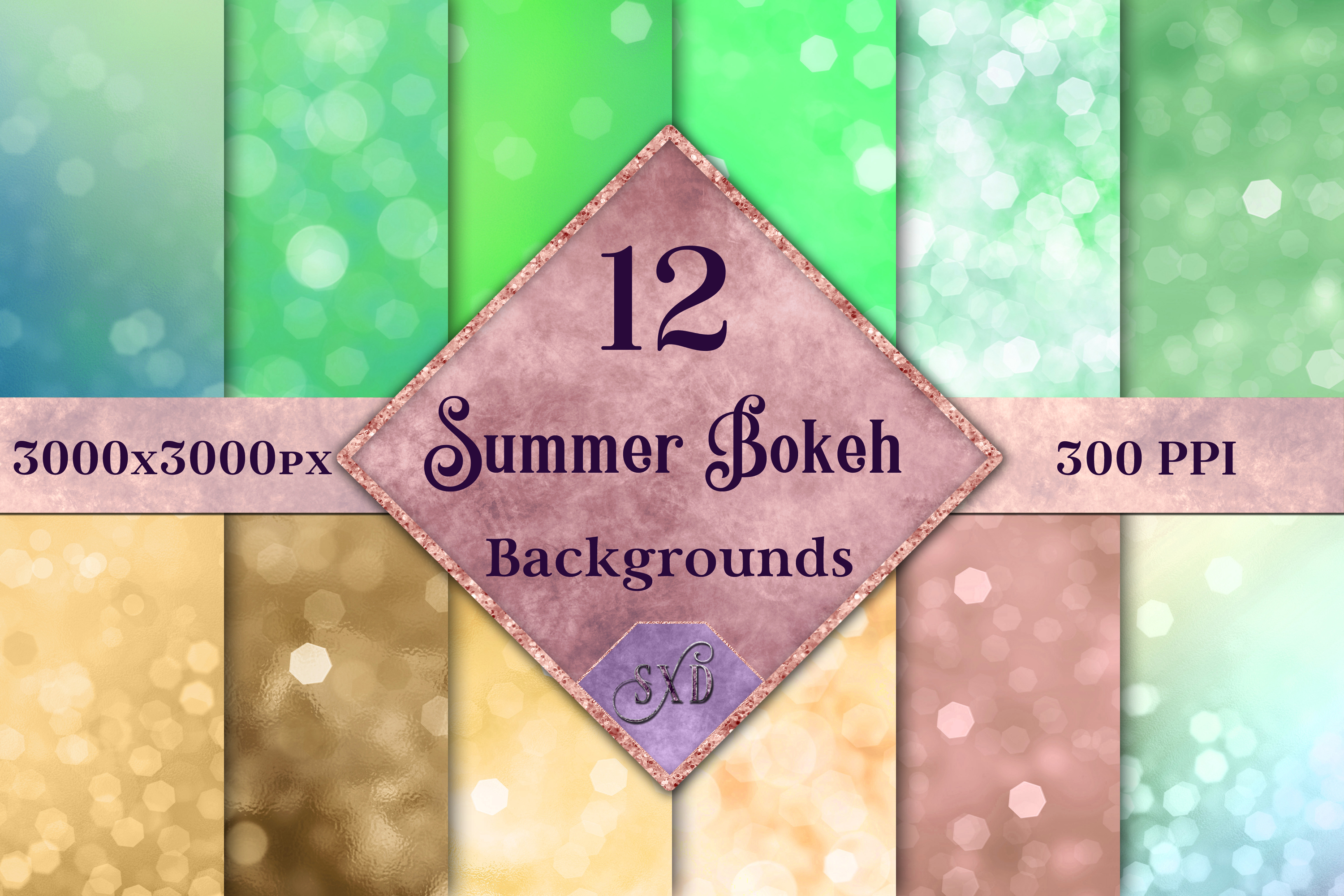 Summer Bokeh Backgrounds - 12 Image Textures Set example image 1