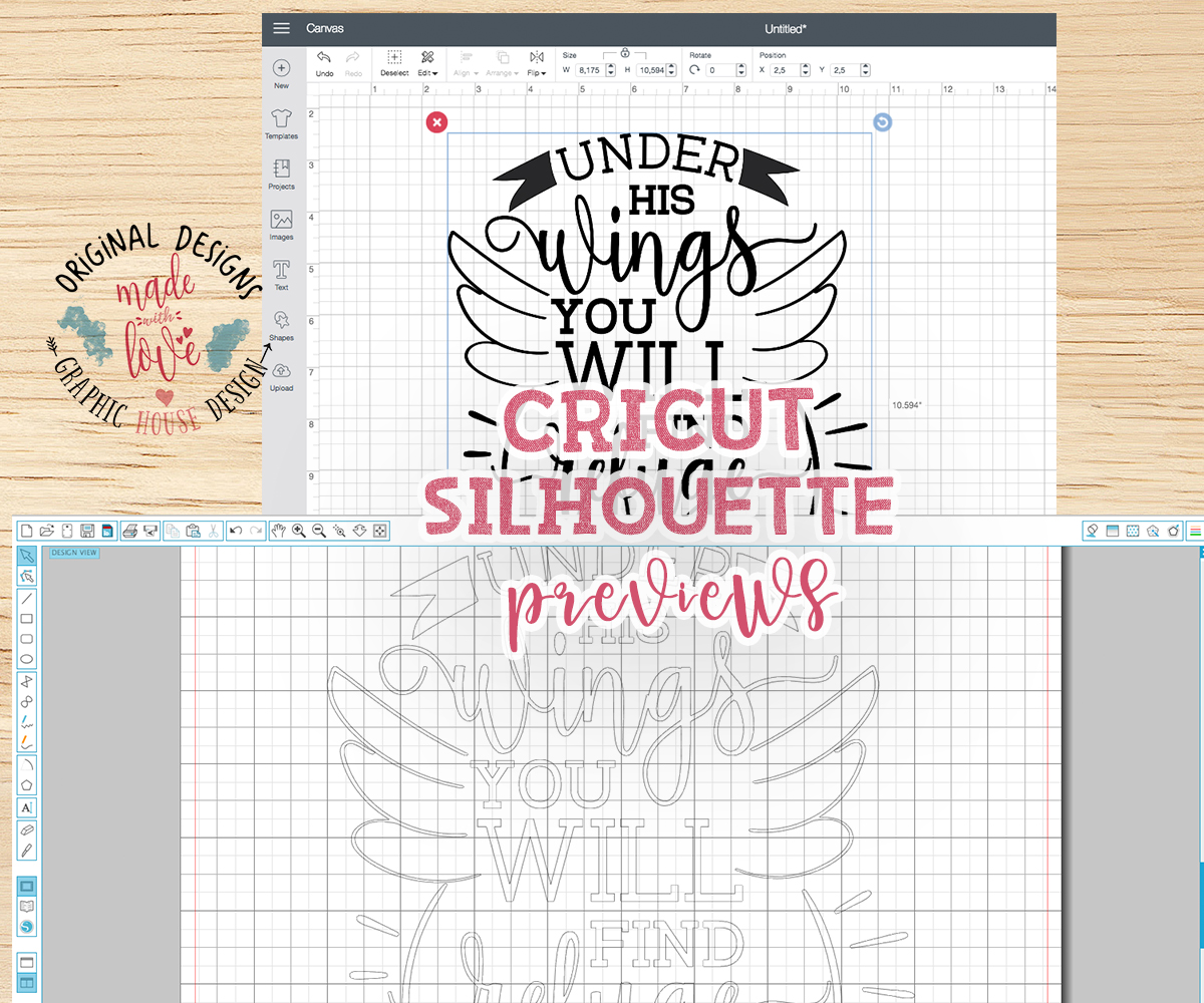 Under his wings you will find refuge Psalm 91:4 Cutting File (SVG, DXF, PNG) example image 2