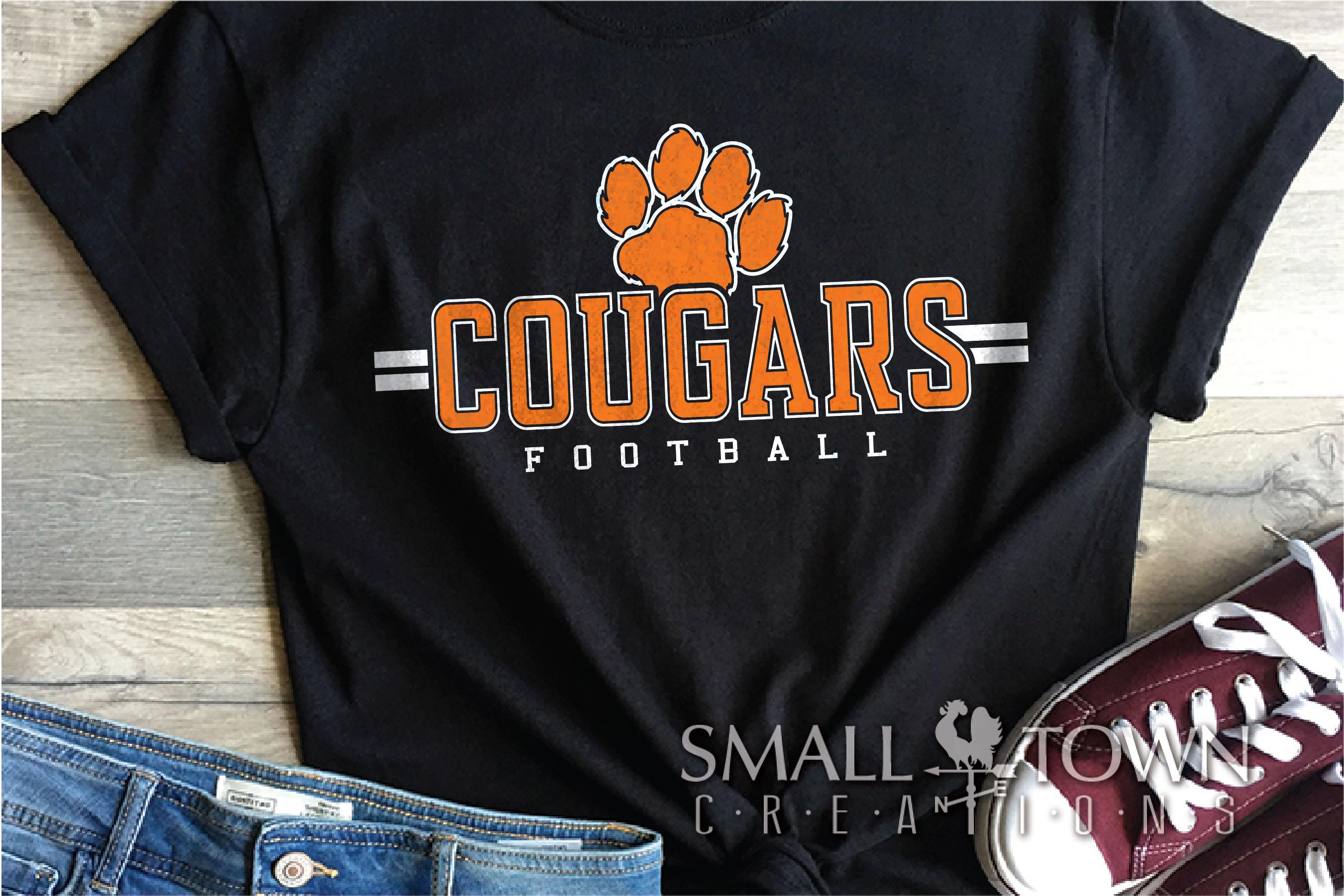 Cougar Football, Paw Print, Team, logo, PRINT, CUT & DESIGN example image 1