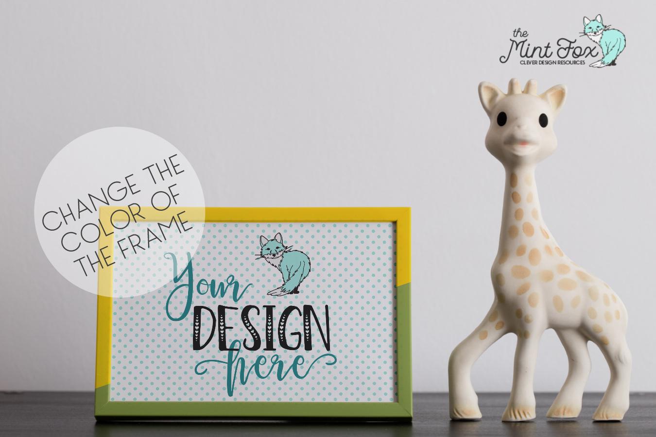Children Photo Frame Mockup with Giraffe example image 3