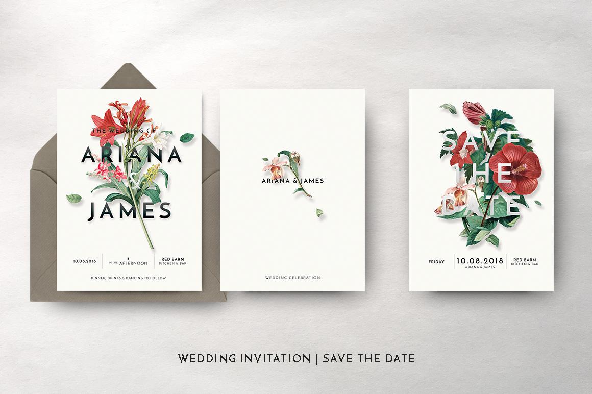 Modern Vintage Floral Wedding Invitation Suite example image 6