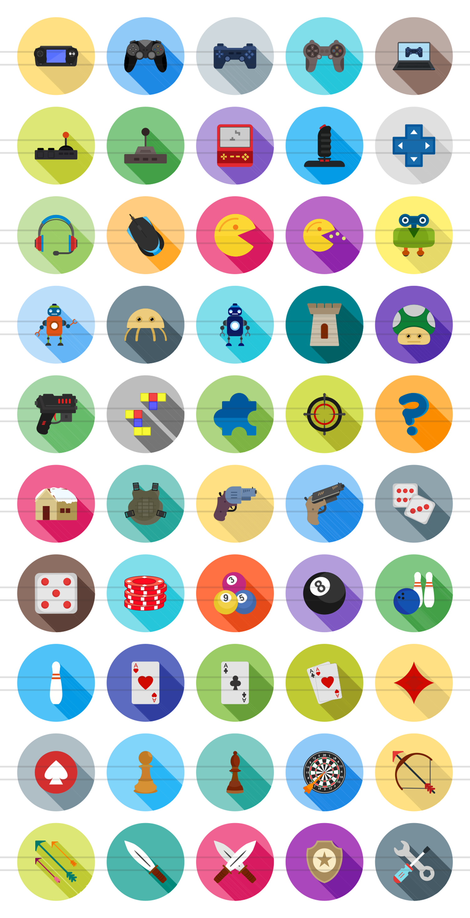 50 Games & Entertainment Flat Long Shadow Icons example image 2