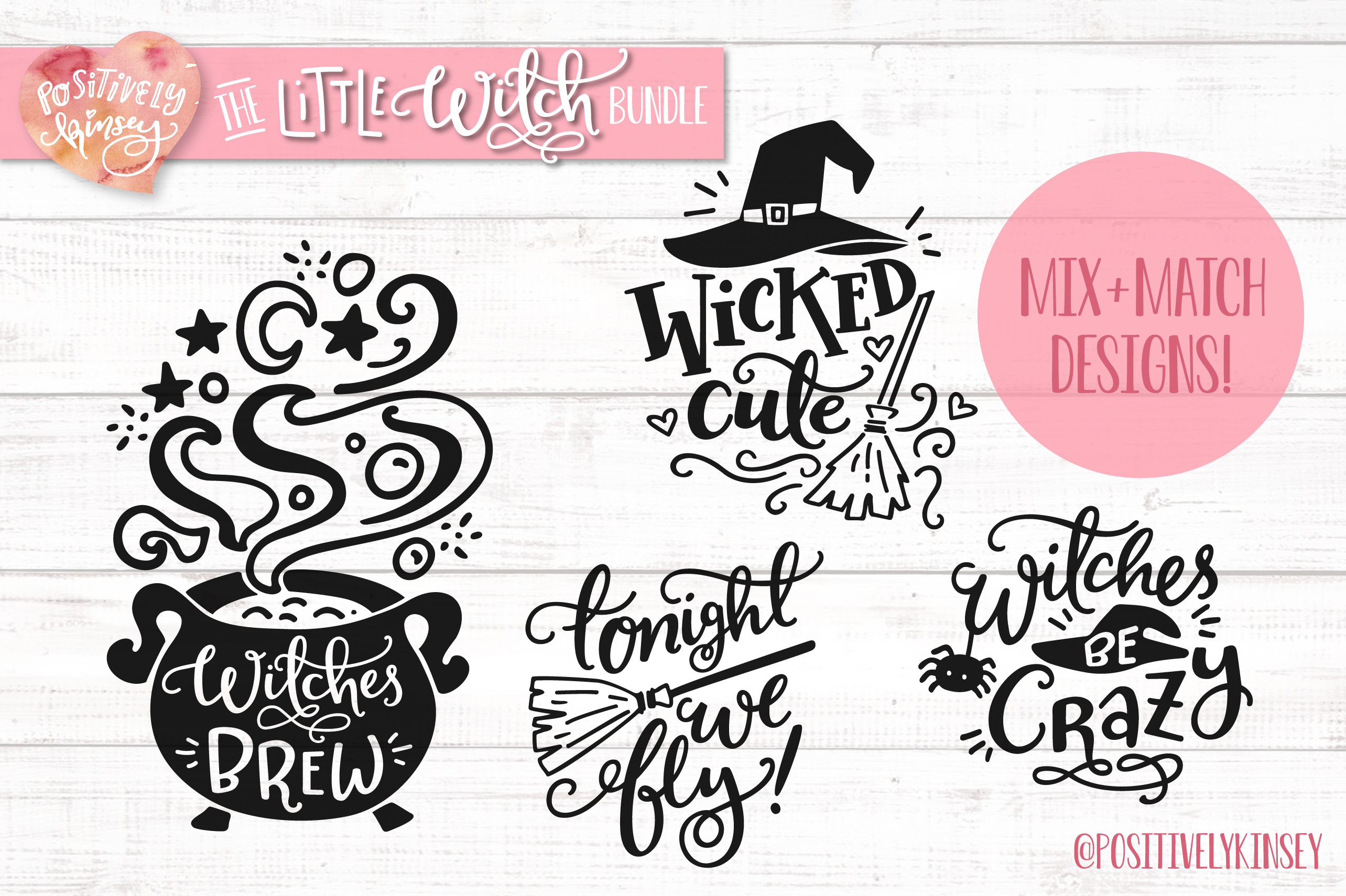 The Little Witch SVG Bundle, Halloween SVG DXF PNG EPS Files example image 2