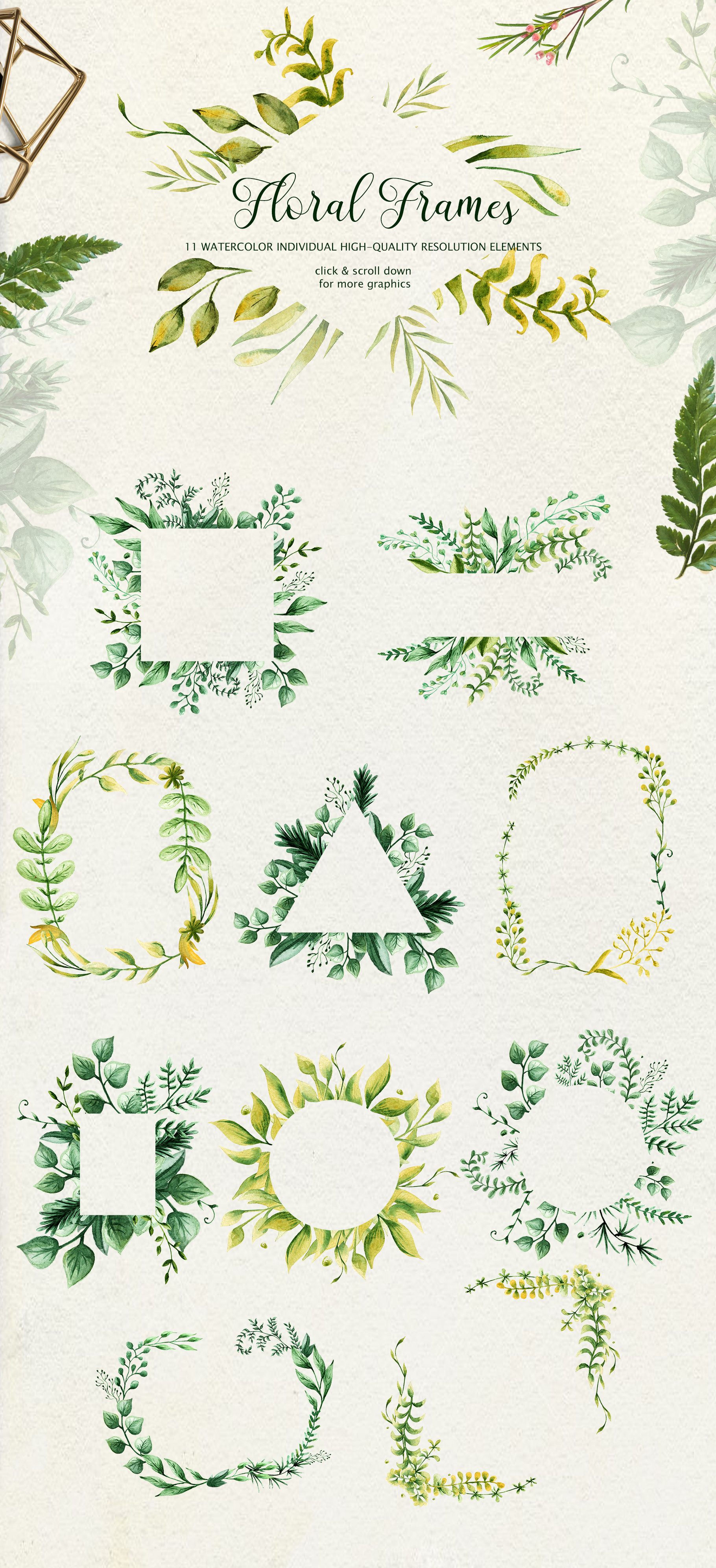 Herbaceous Greens-watercolor set example image 9