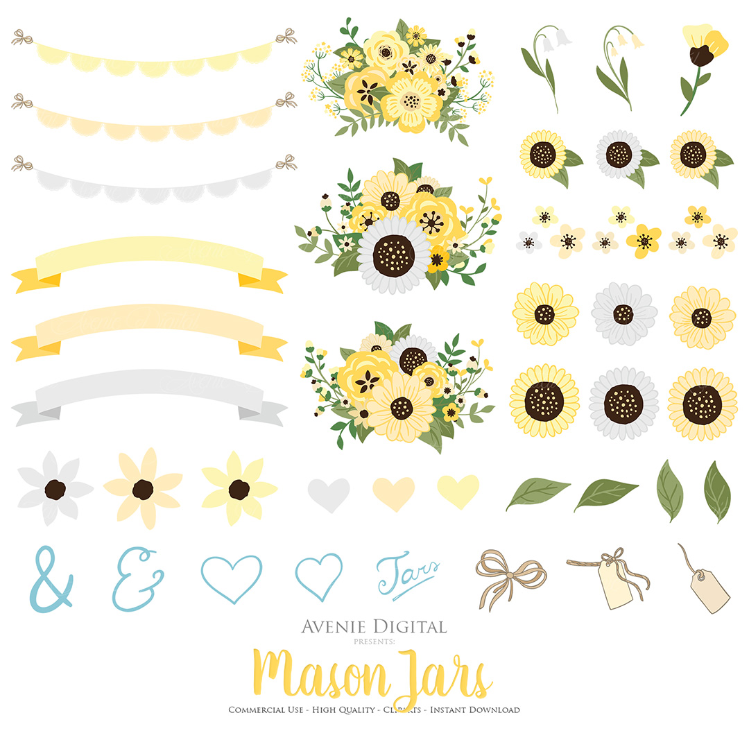 Yellow and Grey Mason Jar Floral Wedding Clipart example image 2