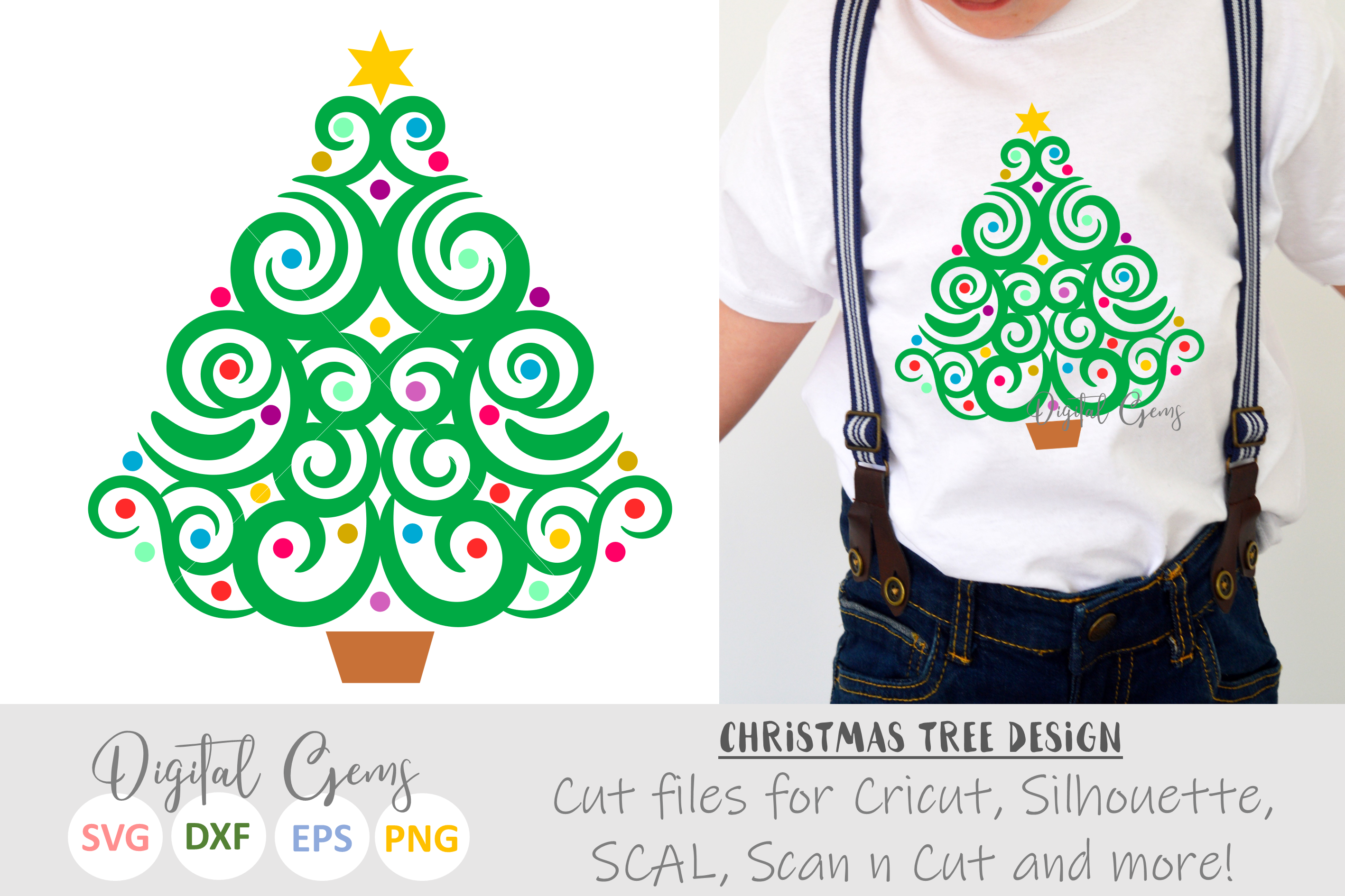 Christmas tree SVG / EPS / DXF / PNG Files example image 1