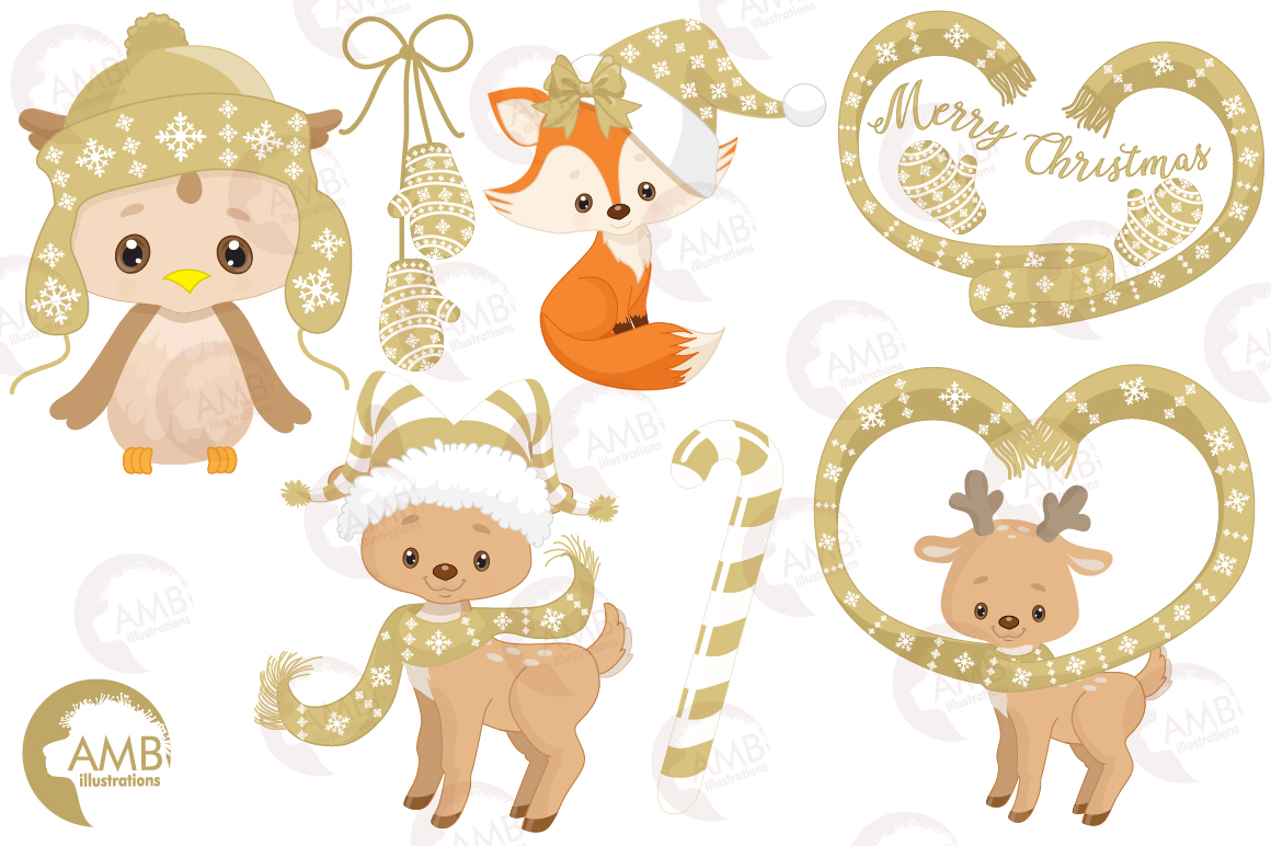 Christmas Critters, Christmas animals clipart, graphics, illustrations AMB-1526 example image 3