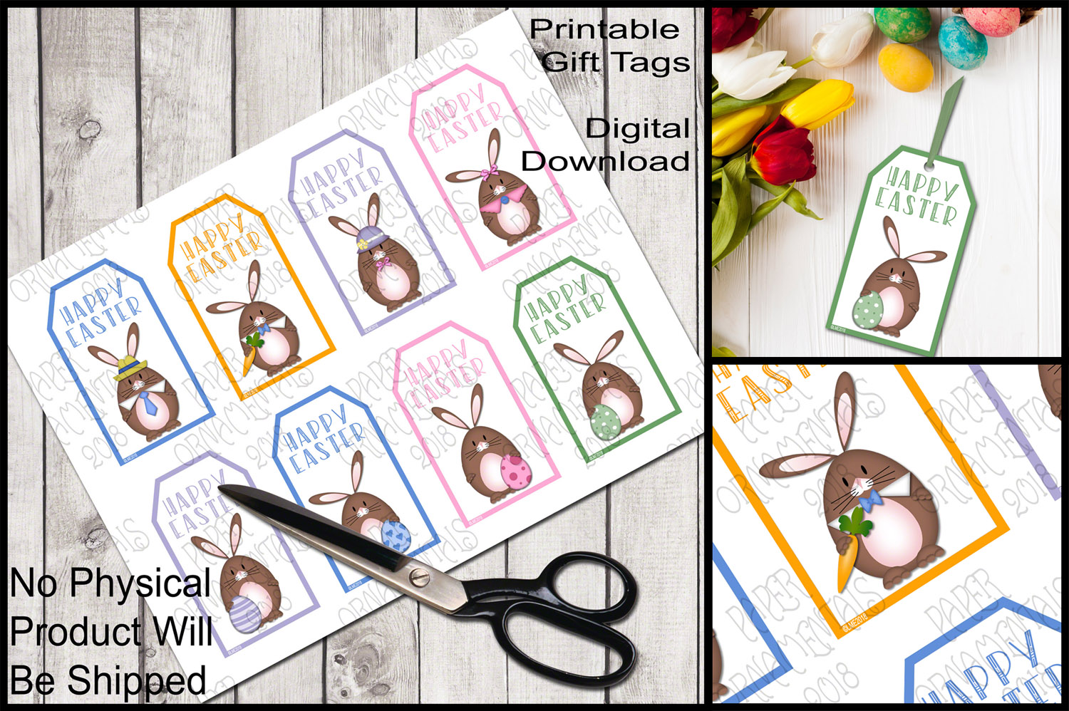 image relating to Printable Easter Gift Tags identified as Printable Easter Present Tags, Brown Bunnies