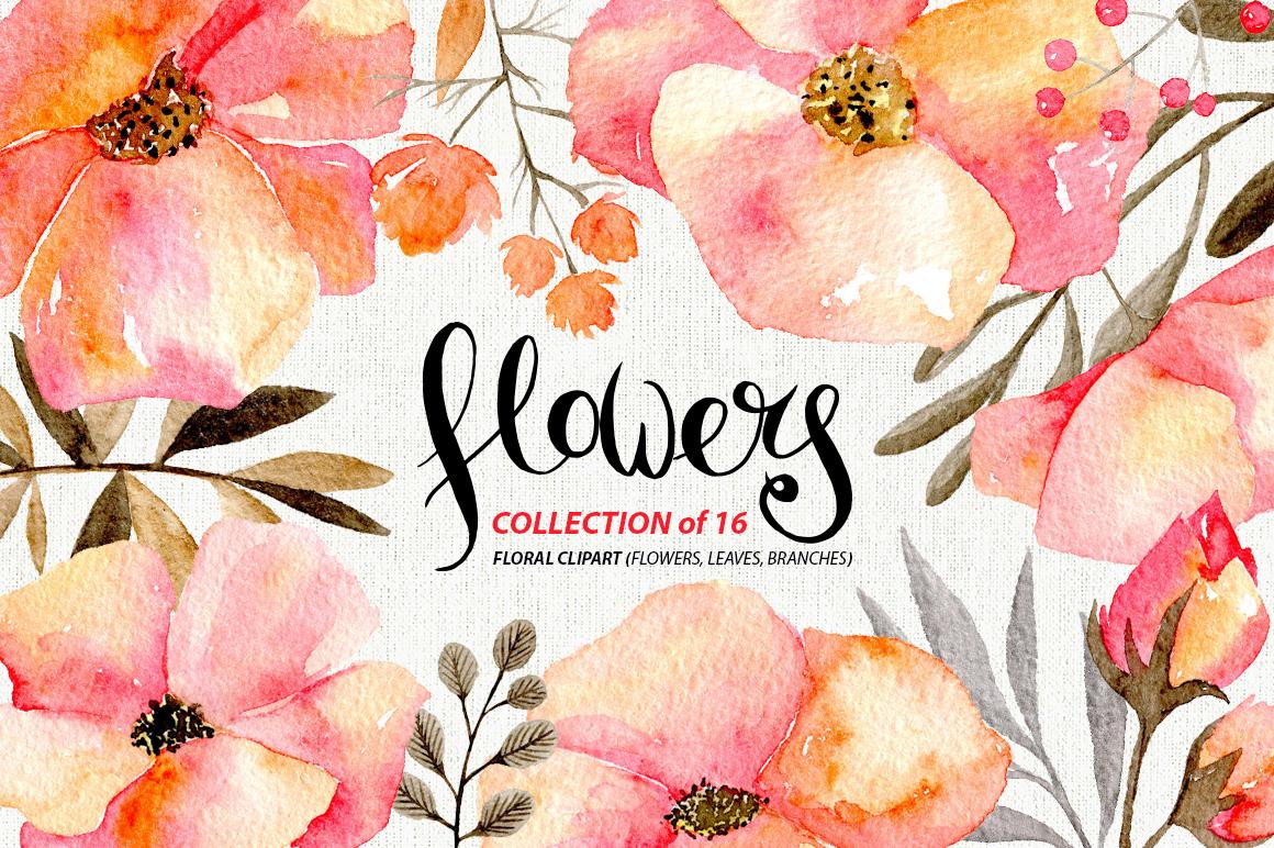 Gentle watercolor flowers, 16 png example image 1