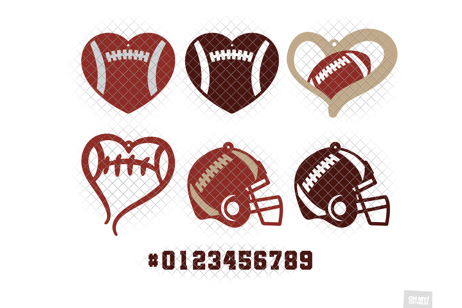 Football Earrings SVG in SVG, DXF, PNG, EPS, JPG example image 3
