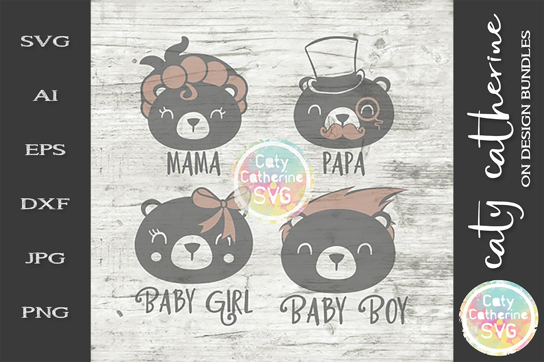 Bear Family Mama Papa Baby Boy SVG Vintage Cute example image 1