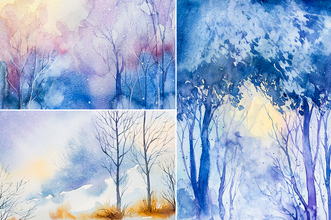 Winter Landscapes set#3. Watercolor. example image 4