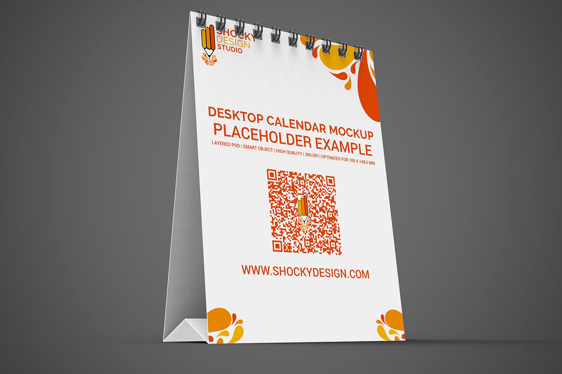 Desktop Calendar A6 Mockup example image 2