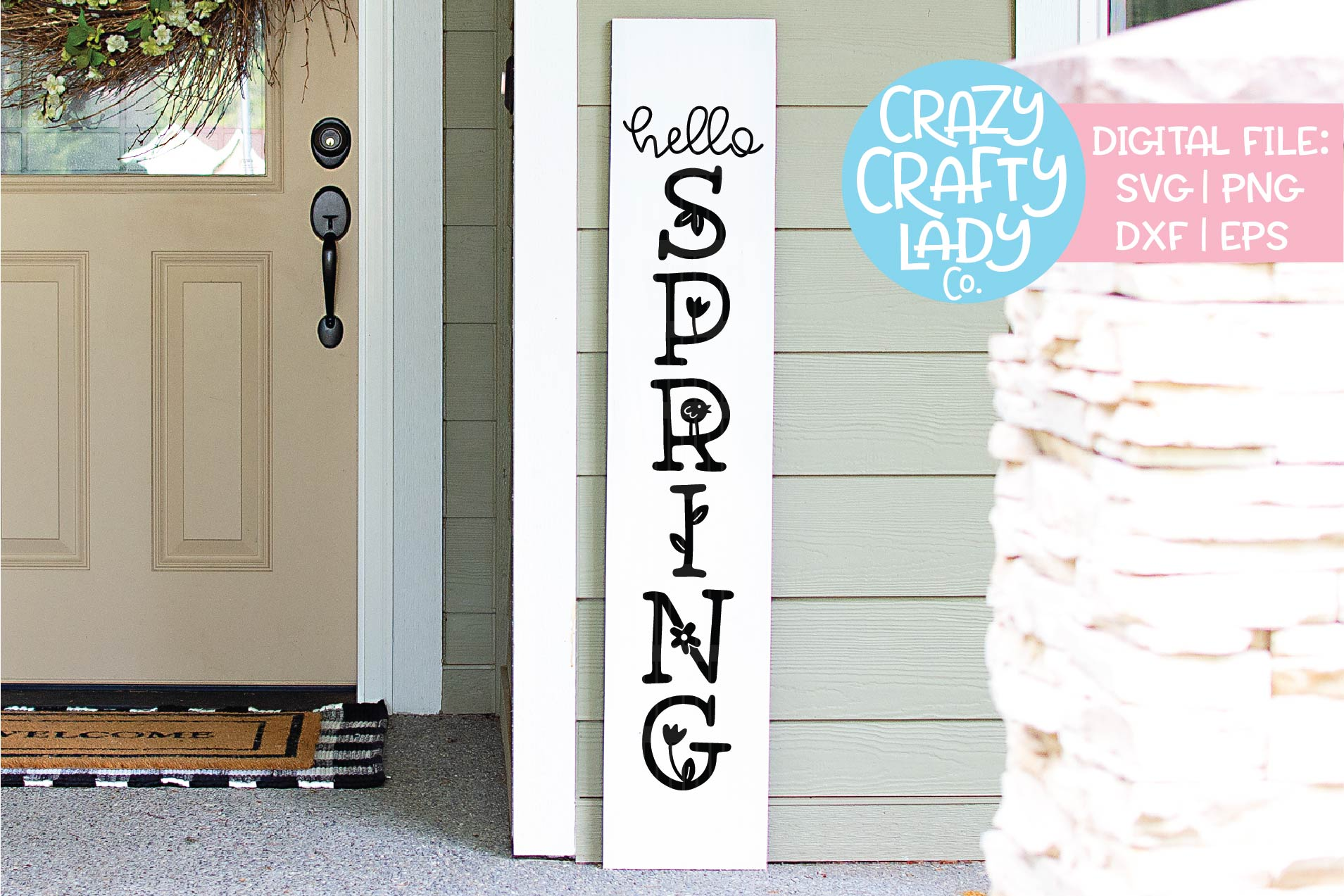 Hello Spring Porch Sign SVG DXF EPS PNG Cut File example image 1