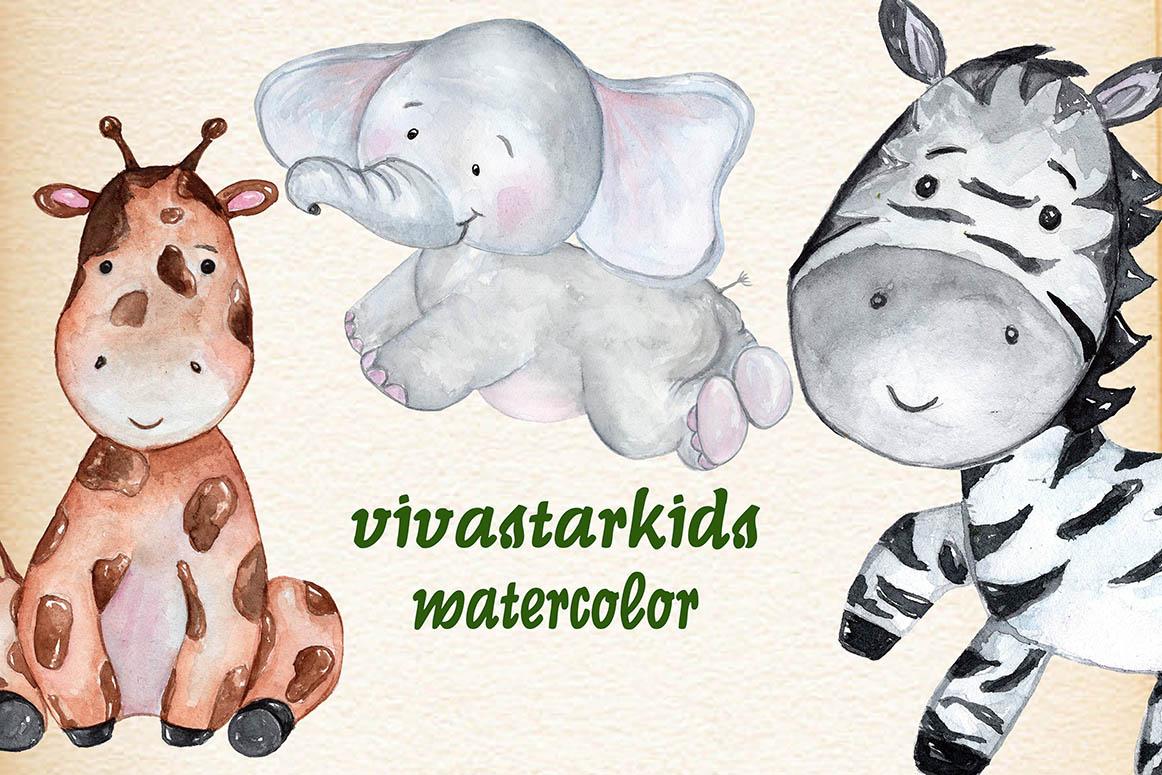 Safari Animals. Watercolor bundle example image 3