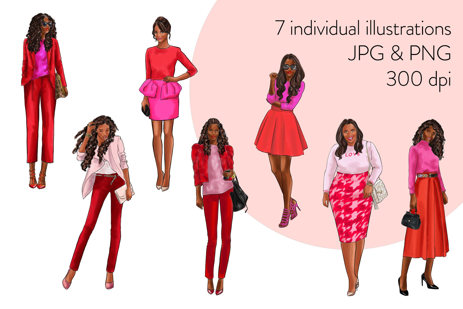 Fashion illustration clipart-Girls in Red and Pink-Dark skin example image 2