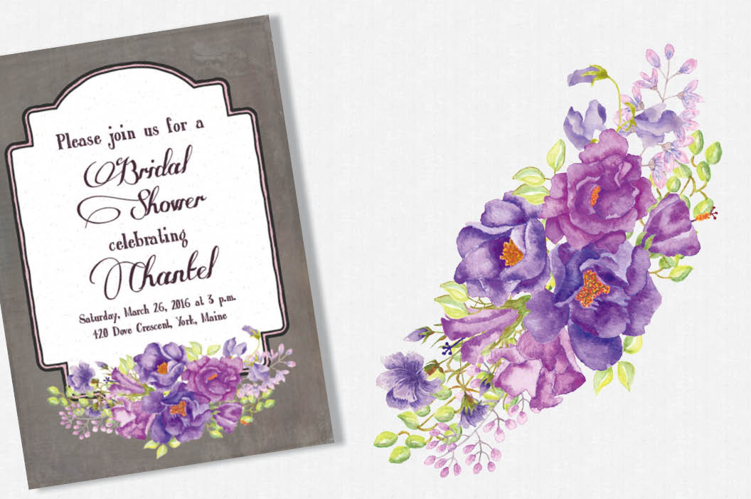 Purple floral sprays in watercolors example image 2