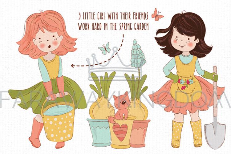 SPRING GARDEN Woman Season Work Vector Illustration Set example image 2