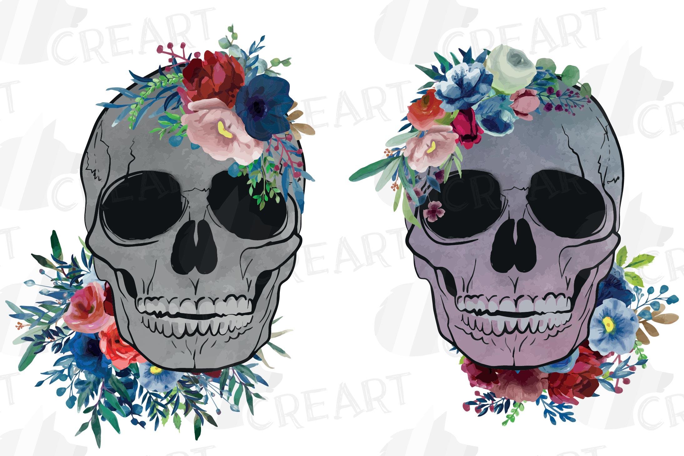 Floral skull watercolor decoration clip art. Skull shirt png example image 1