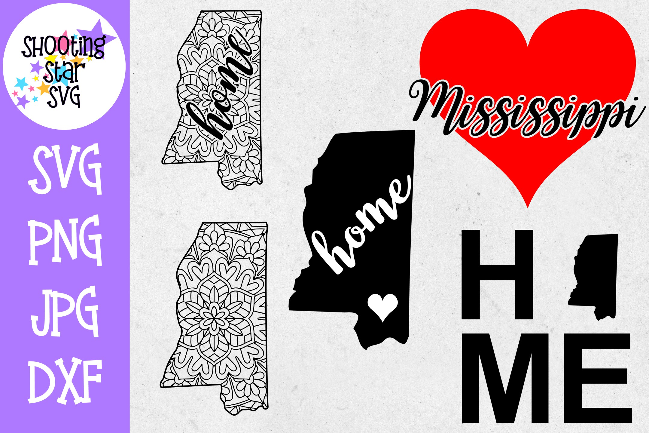 Mississippi US State SVG Decal Bundle - 50 States SVG example image 1