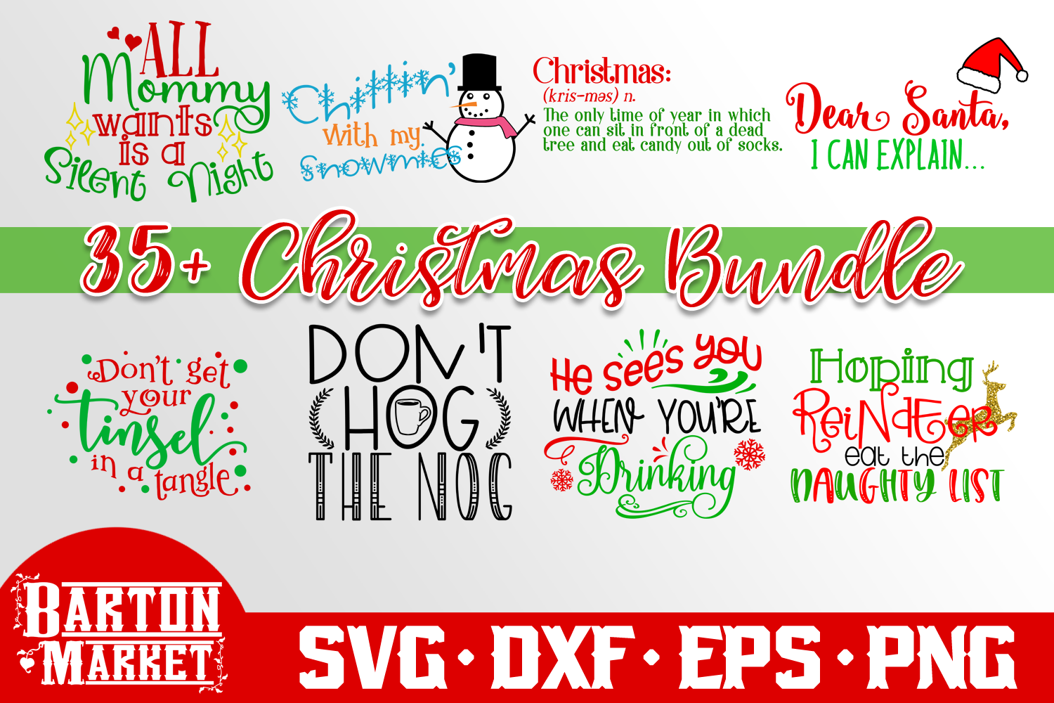 BUNDLE 37 Christmas Craft Designs SVG DXF EPS PNG example image 2