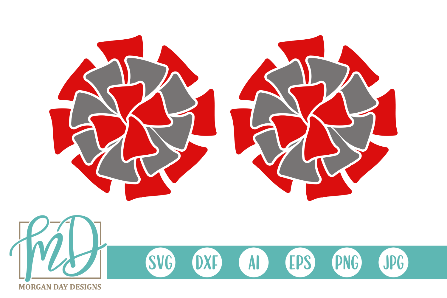 Cheer - Pom Poms - Cheerleader SVG, DXF, AI, EPS, PNG, JPEG example image 1