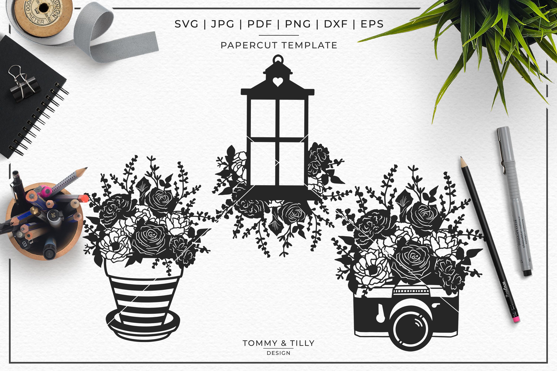 Romantic Floral Wedding Bundle - Papercut SVG DXF PNG JPG PD example image 2