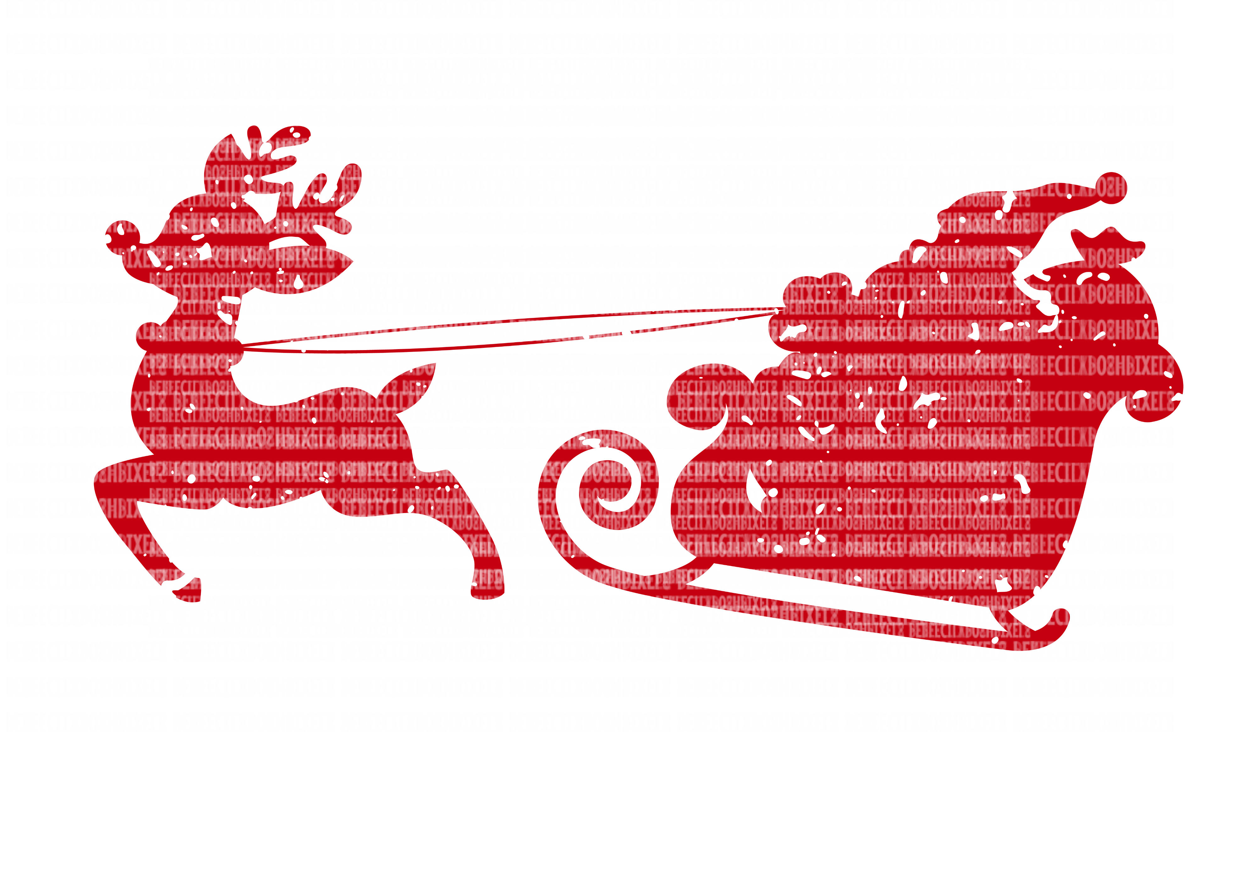 Distressed Santa and Sleigh SVG Files Cut Files Heat Transfer Vinyl Scrapbooking Stencil EPS DXF Silhouette Cameo Cricut Commercial Use example image 1