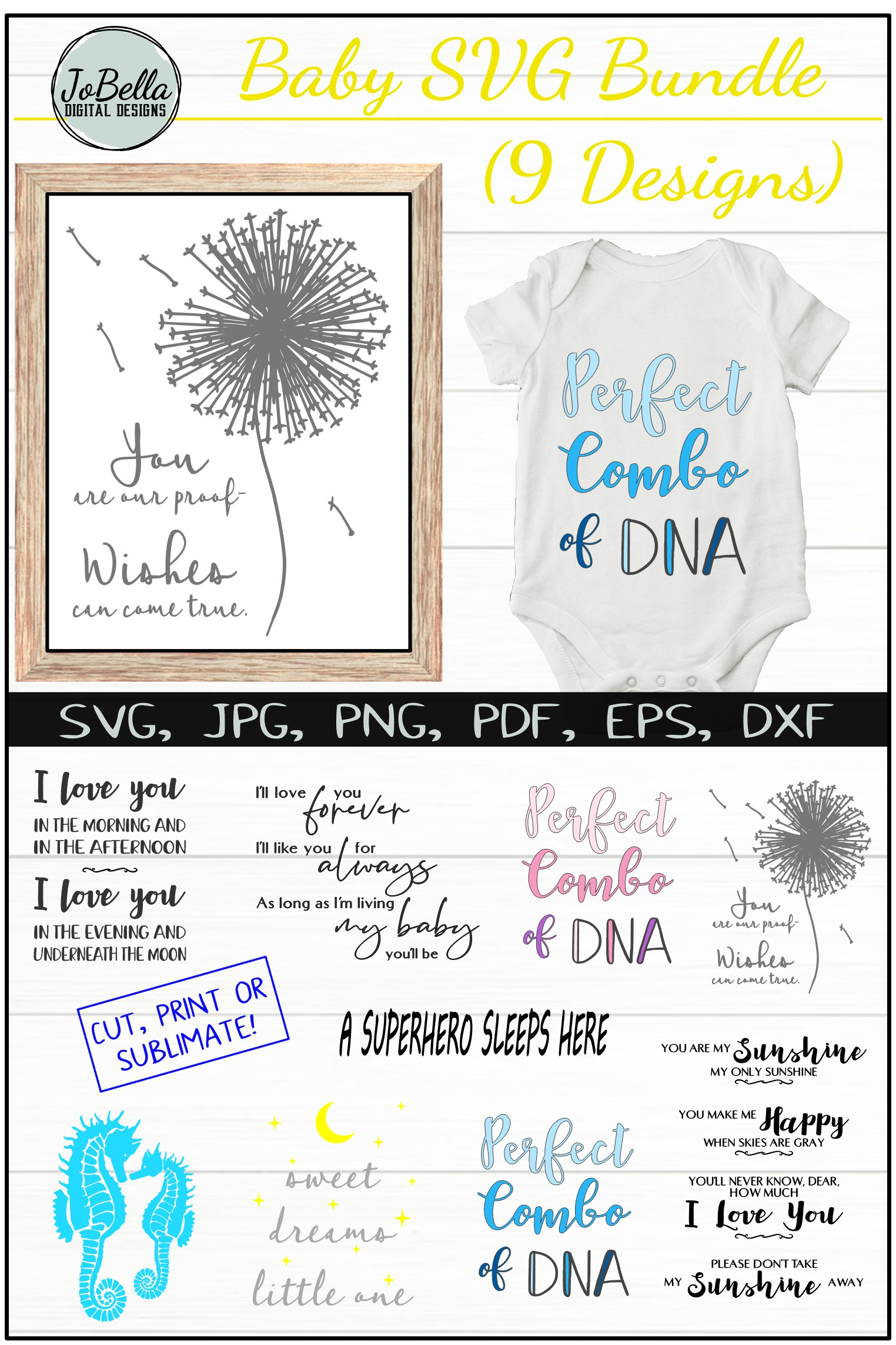 Baby SVG Bundle, Sublimation PNGs and Printables example image 11