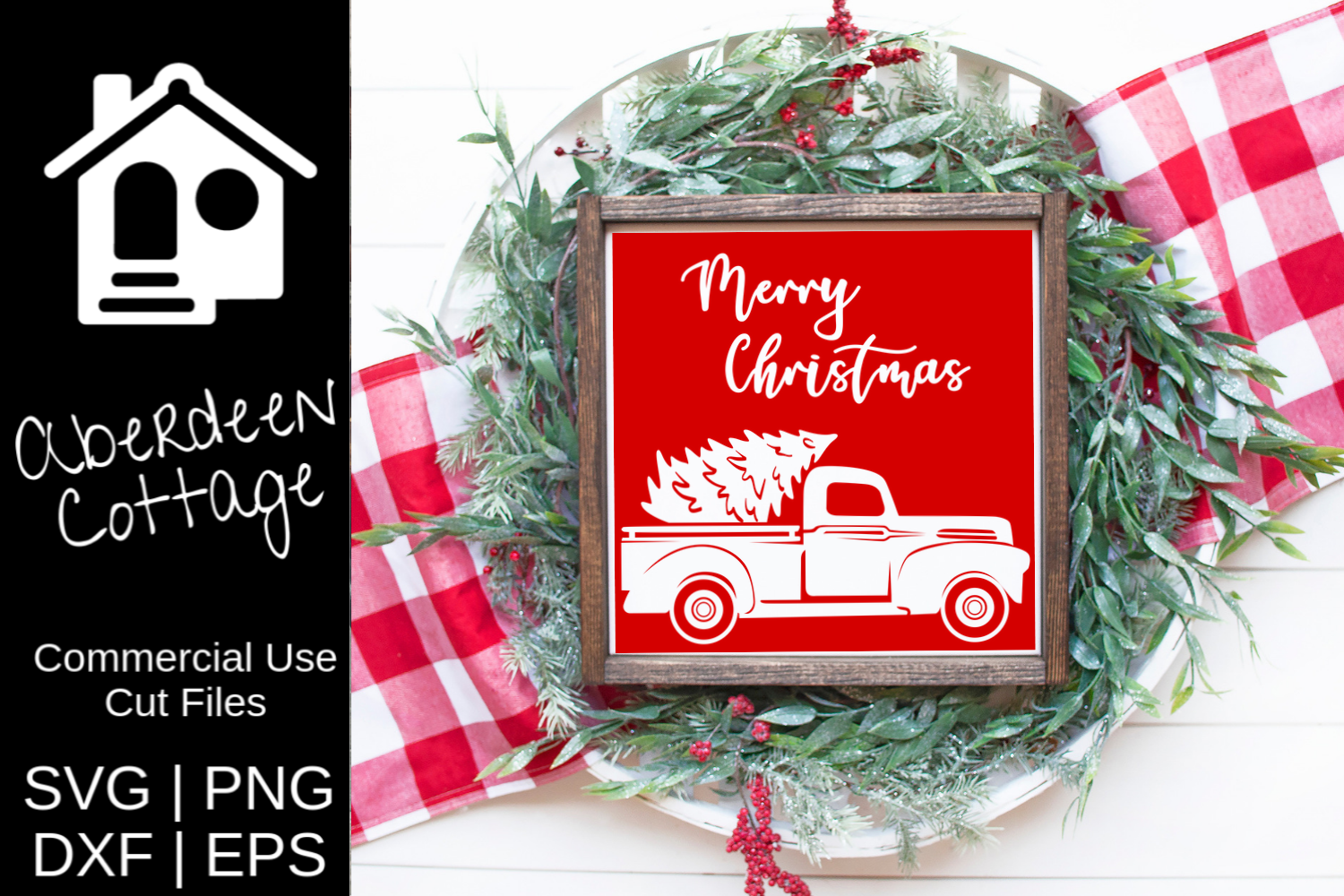 Merry Christmas Vintage Truck 2 SVG example image 1