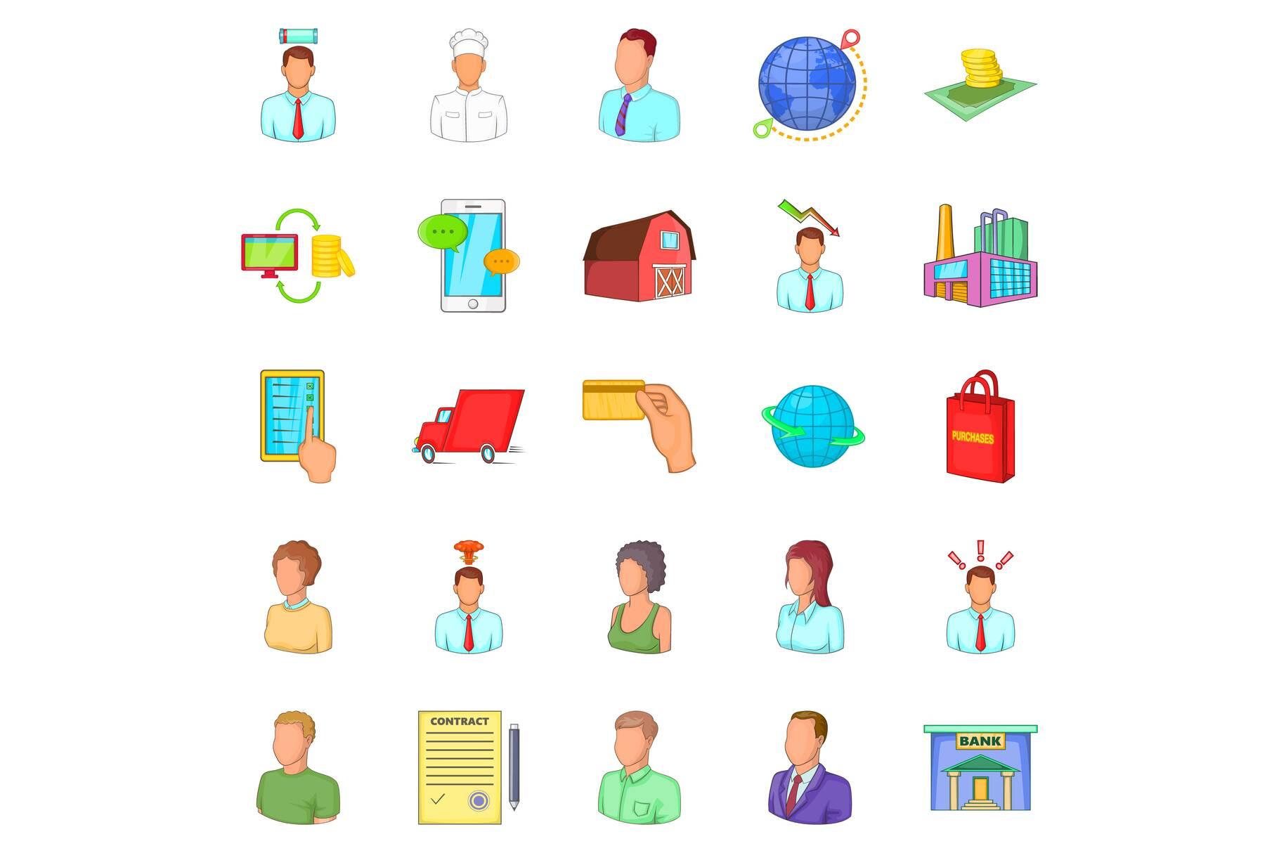 Distributive trades icons set, cartoon style example image 1