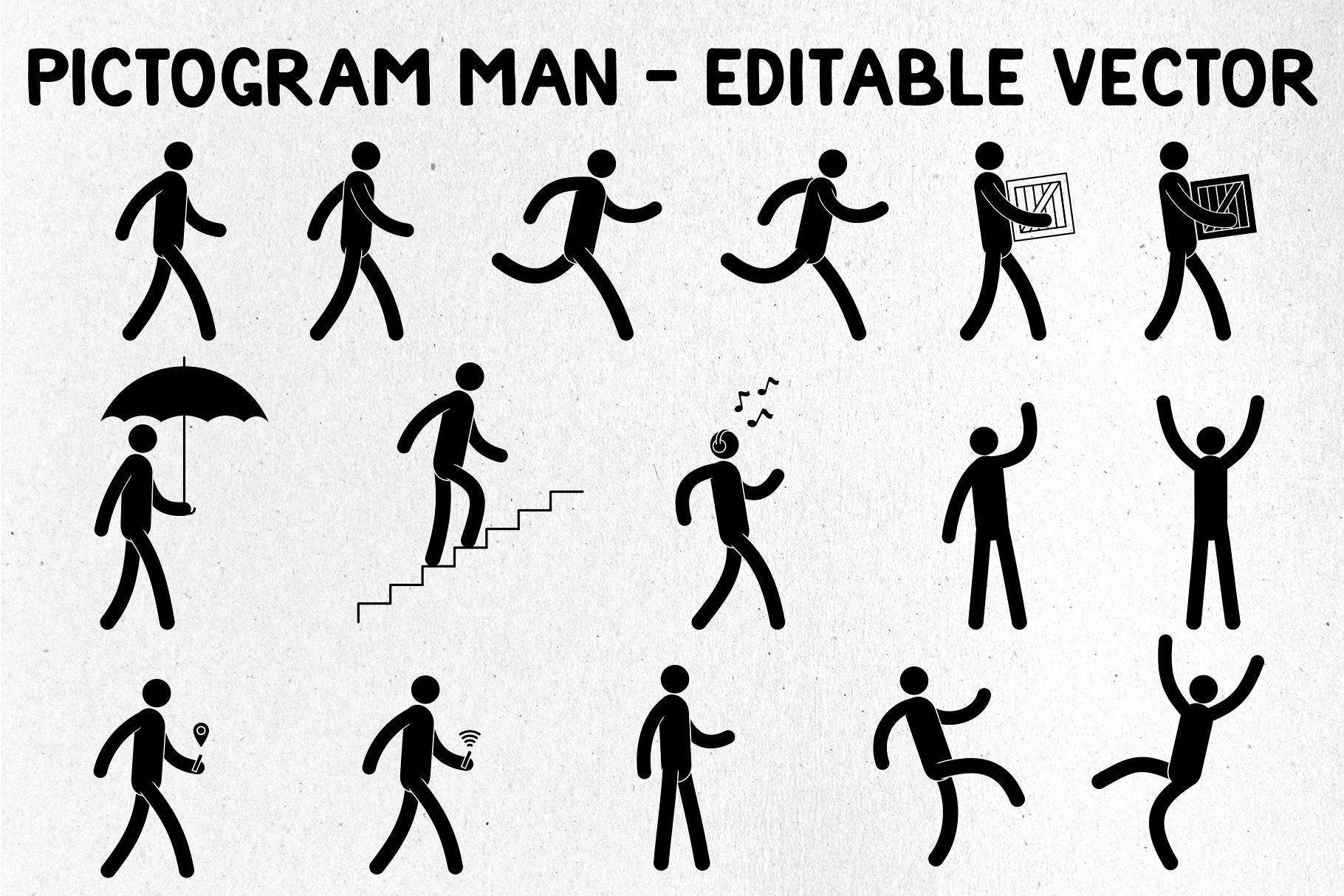 Pictogram Man Editable Poses example image 1