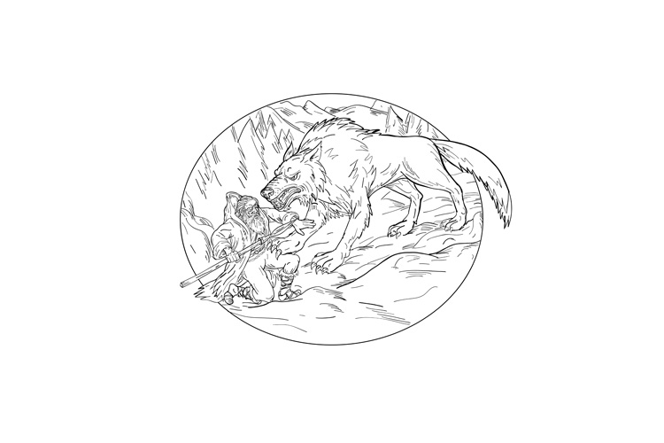 Fenrir Attacking Norse God Odin Drawing Black and White example image 1