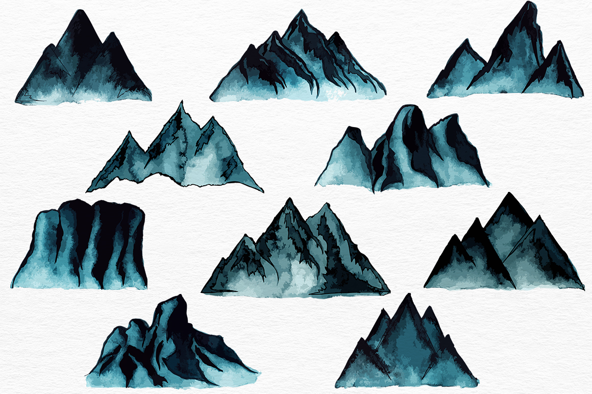 Mountains HandDrawn Vector example image 4