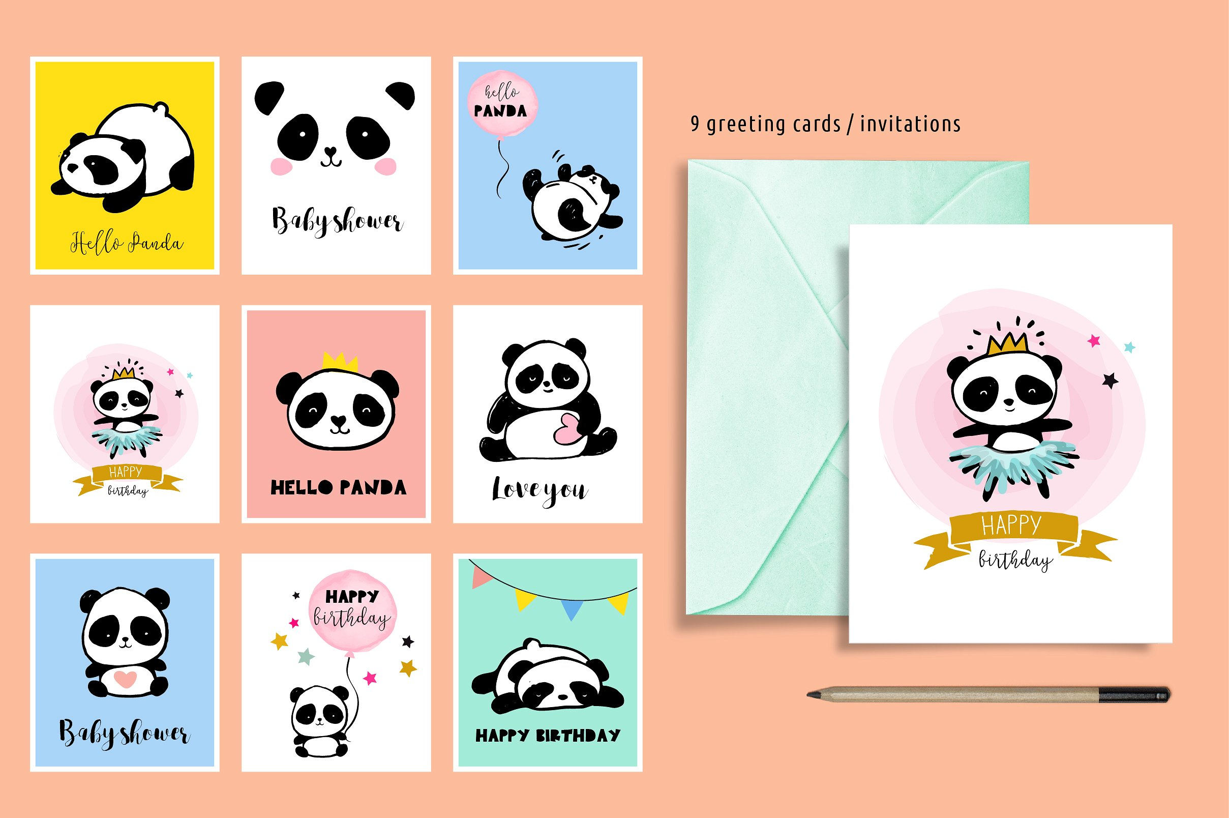 Panda bear design collection example image 4