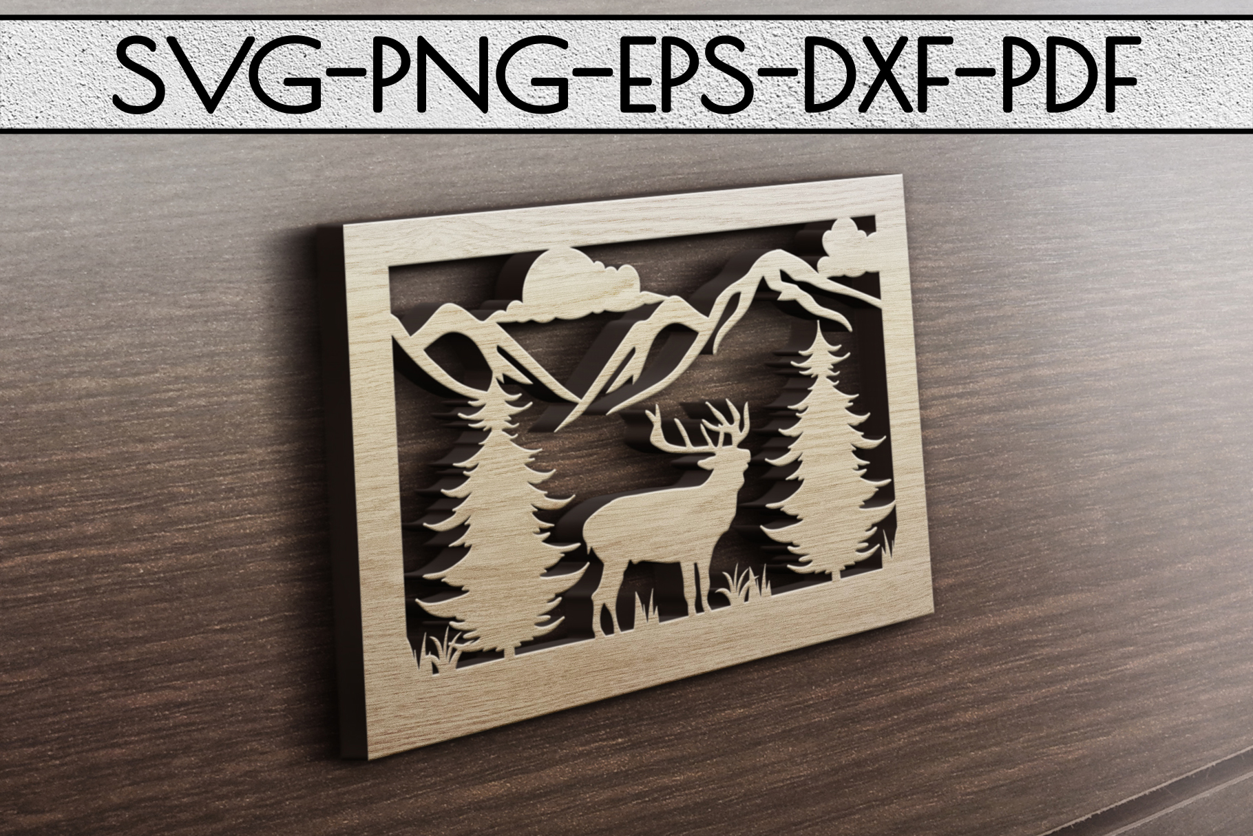 Wild Life Papercut Template, Woodland Adventure Scenery SVG example image 3