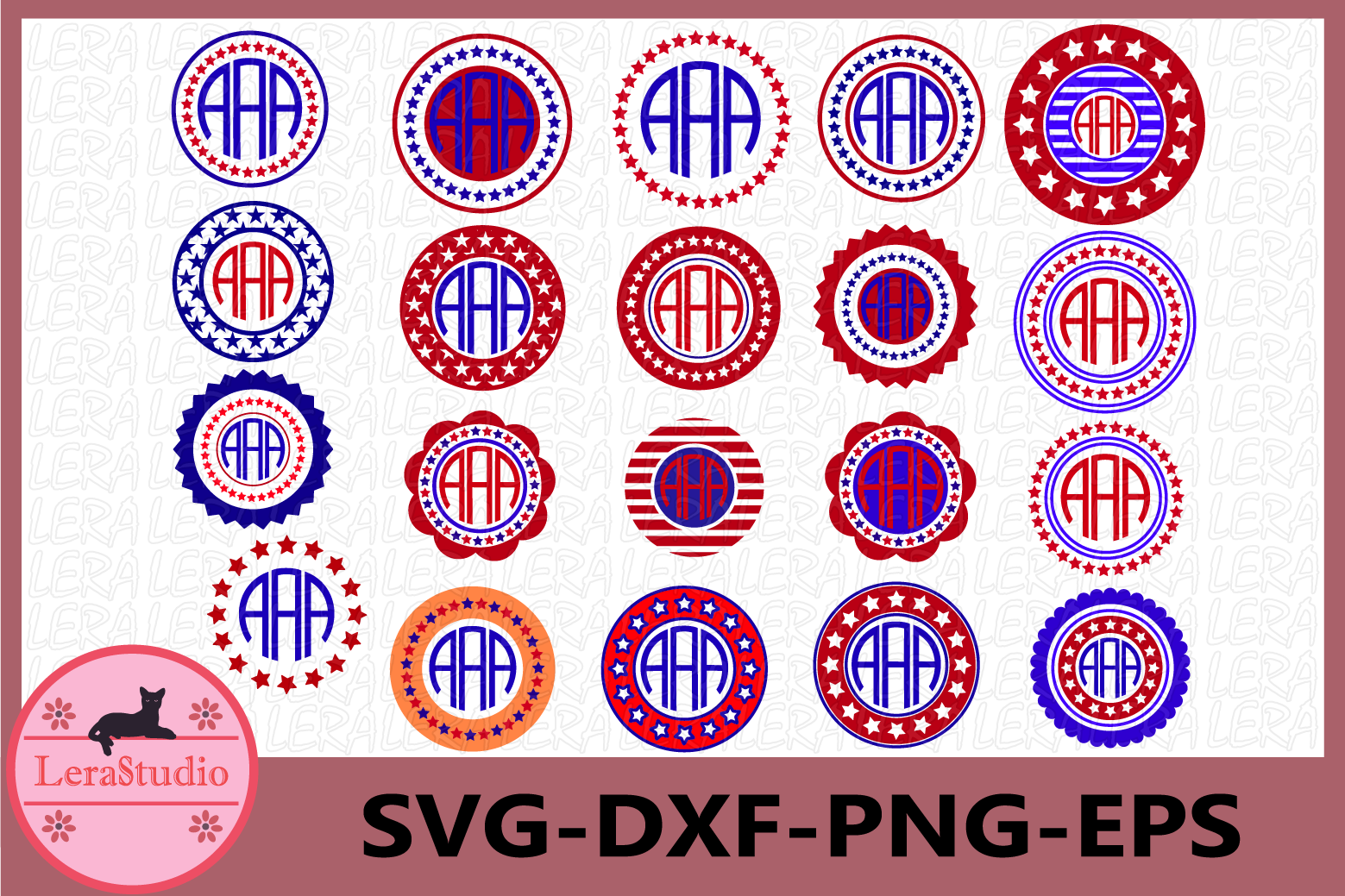 4th of July Svg, Circle Monogram Frames SVG, Fourth of July example image 1