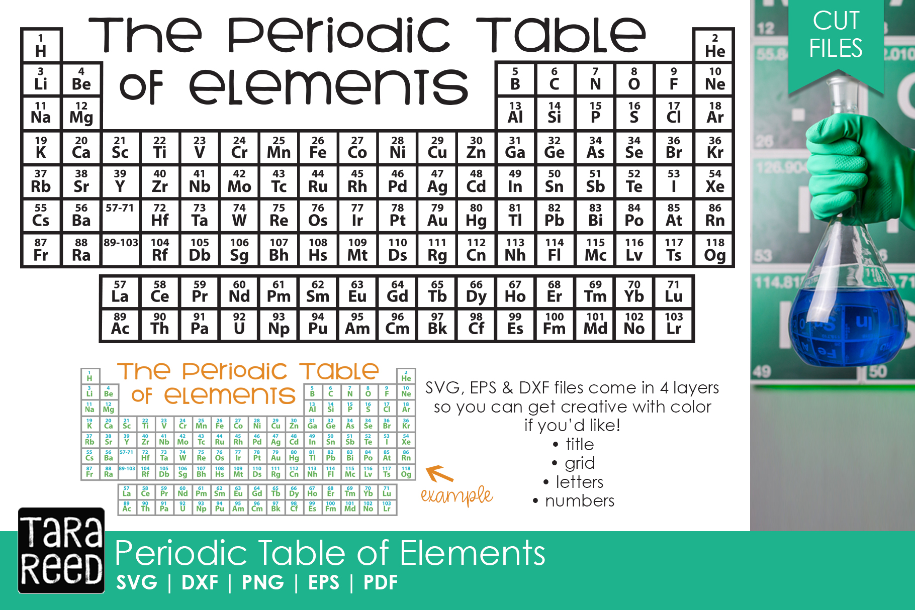 Periodic Table of Elements - Chemistry Cut Files for Crafter example image 1