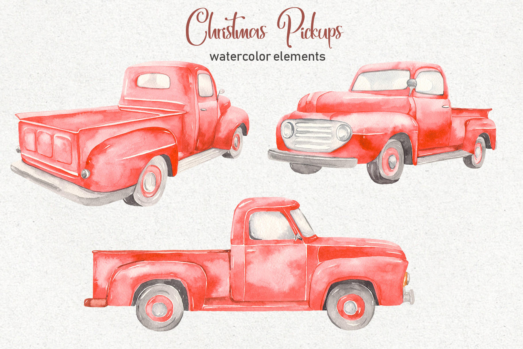 Christmas pickup Watercolor clipart and Christmas elements example image 2