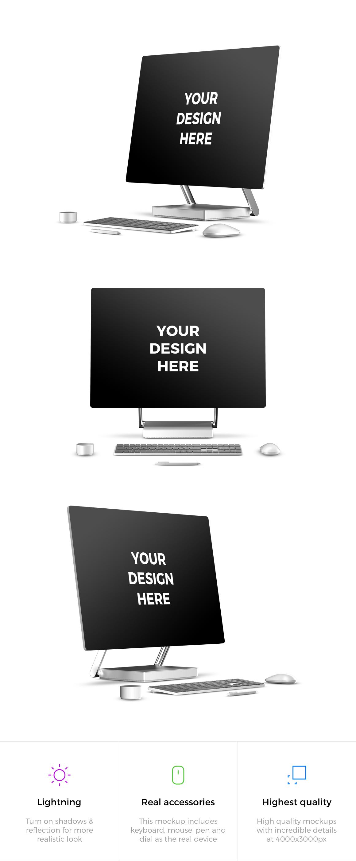 3x Microsoft Surface Studio Mockups example image 2