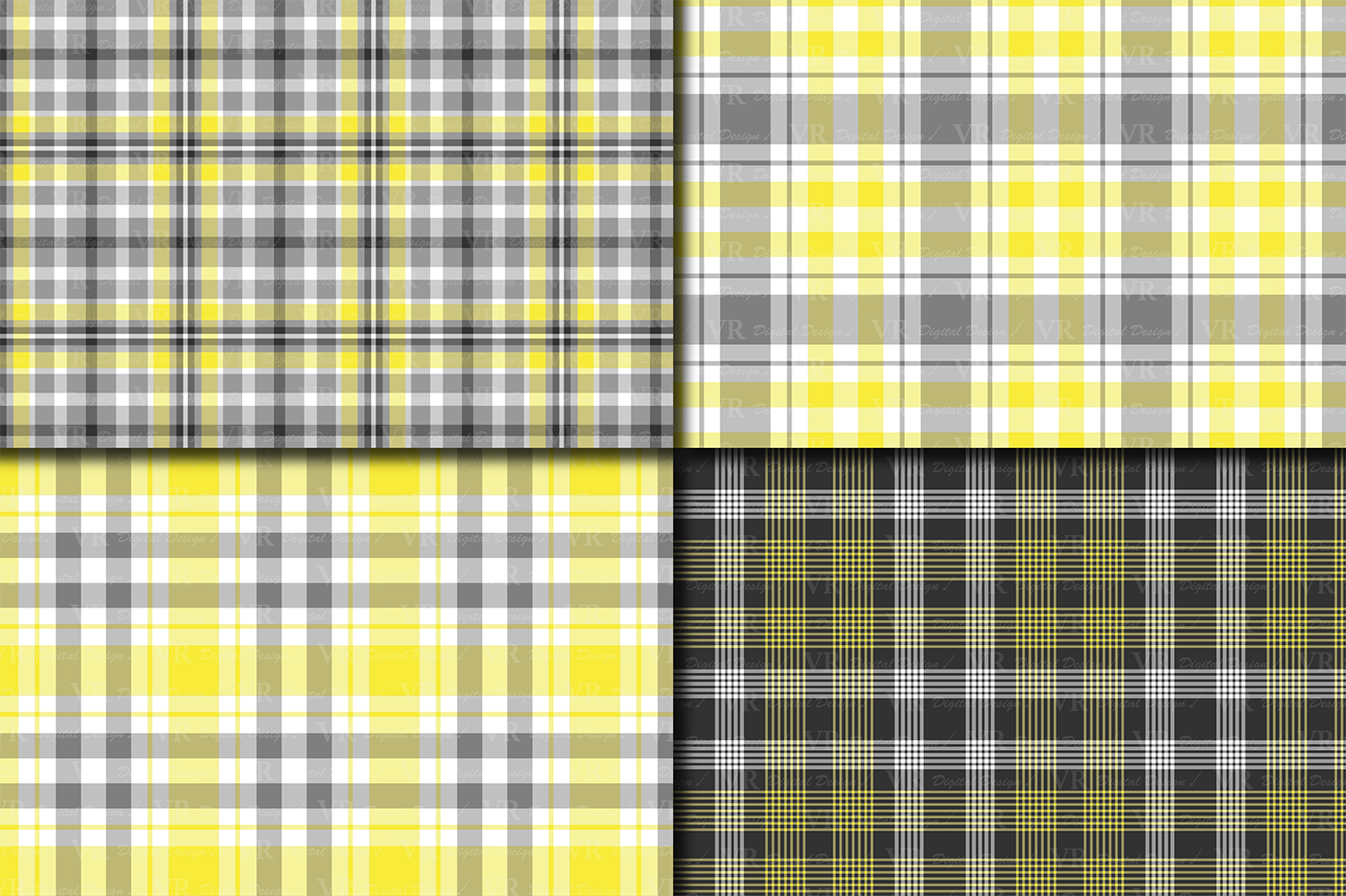 Yellow and Gray Plaid Digital Paper example image 2