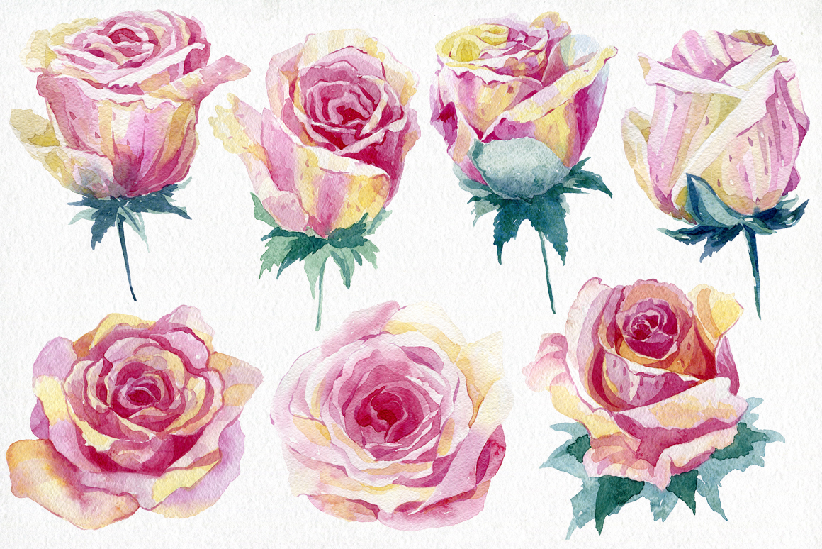 Watercolor roses. Alphabet. example image 2