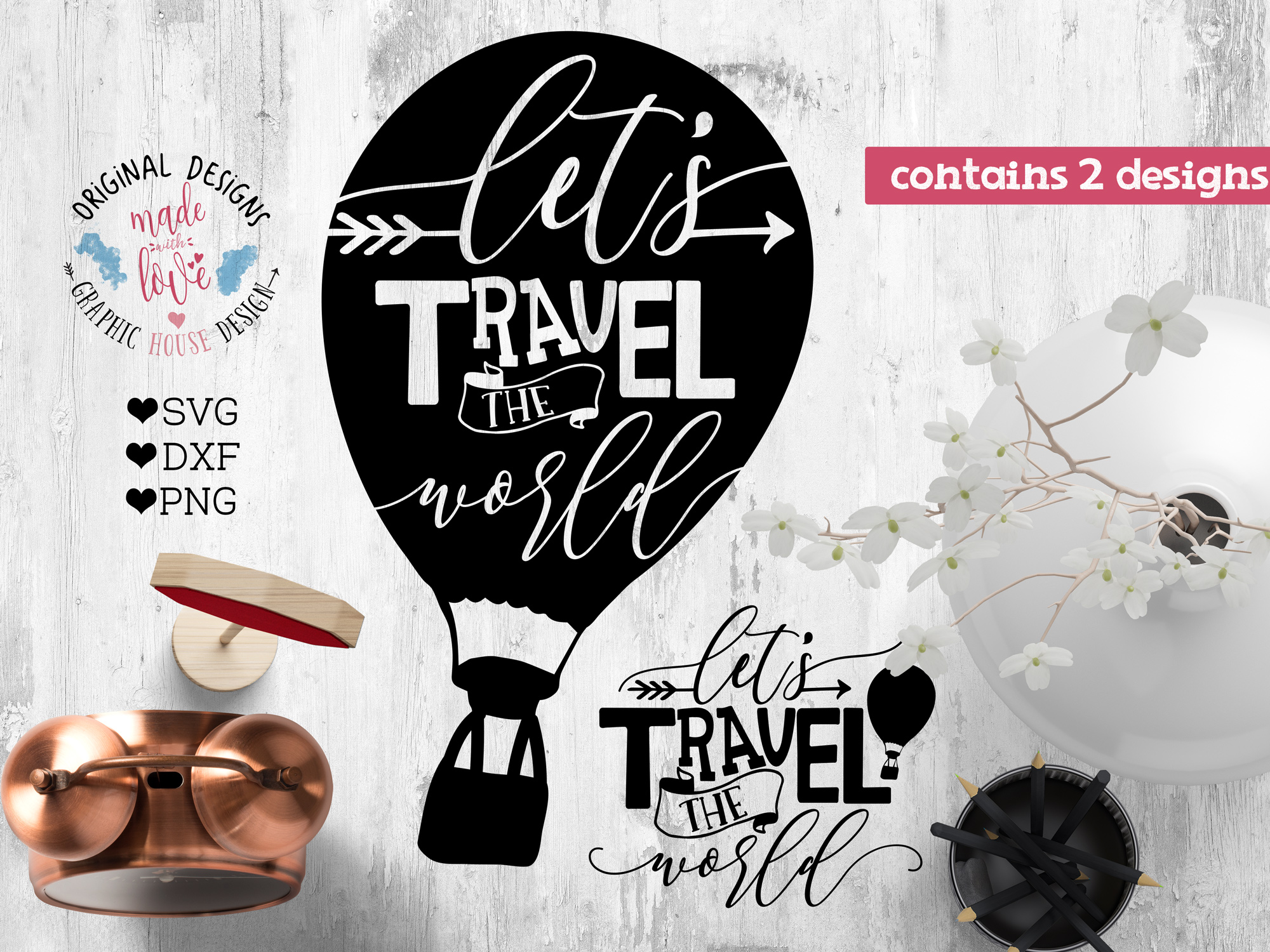 Lets travel the world Cut File and Printable SVG, DXF, PNG example image 2