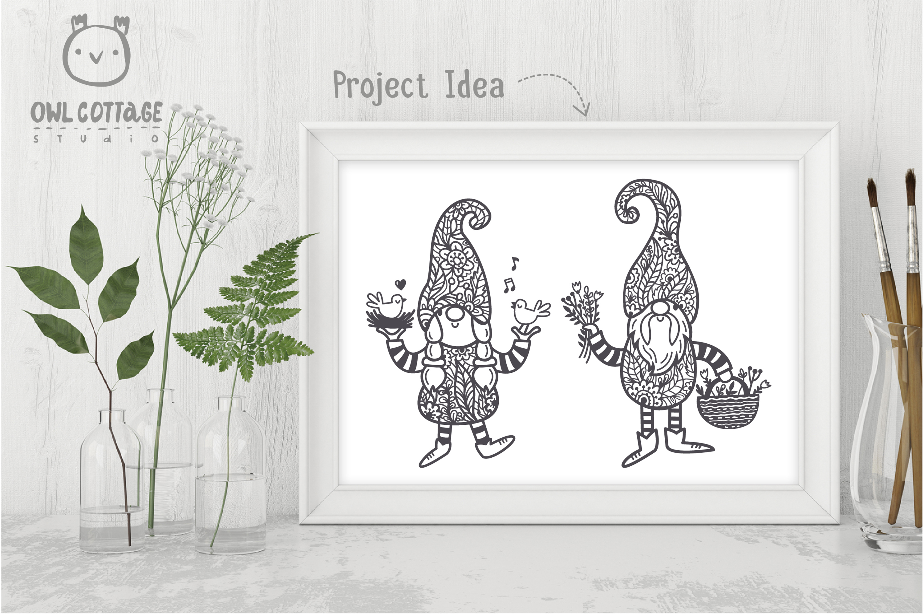 Spring Floral Gnomes SVG, Mr. and Mrs Gnomes, Tomte example image 6