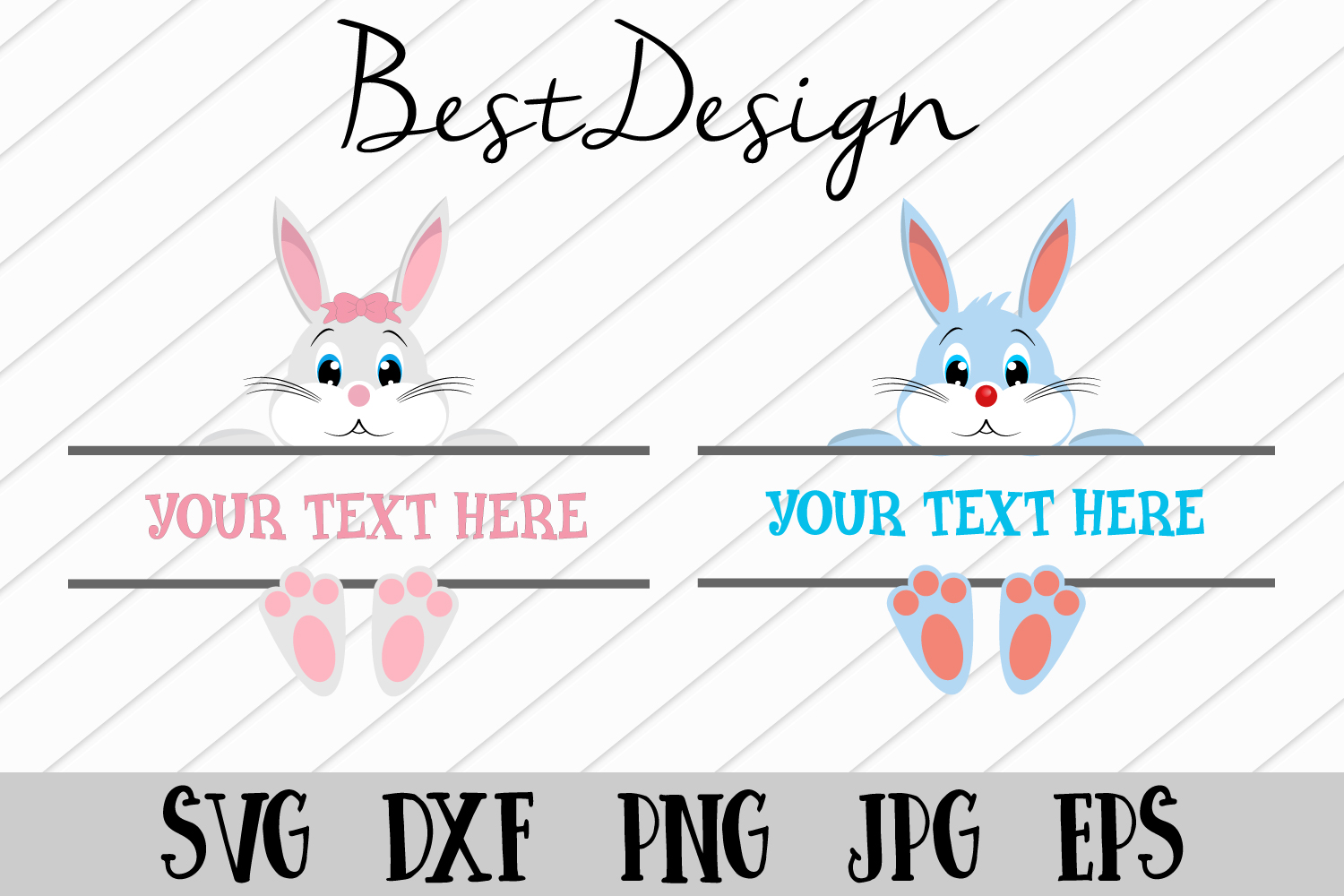 Easter Bunny Svg, Easter Monogram Svg,Easter Svg example image 1